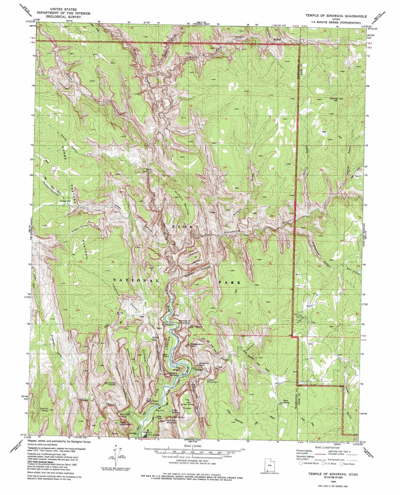 Temple Of Sinawava Topographic Map UT  USGS Topo Quad
