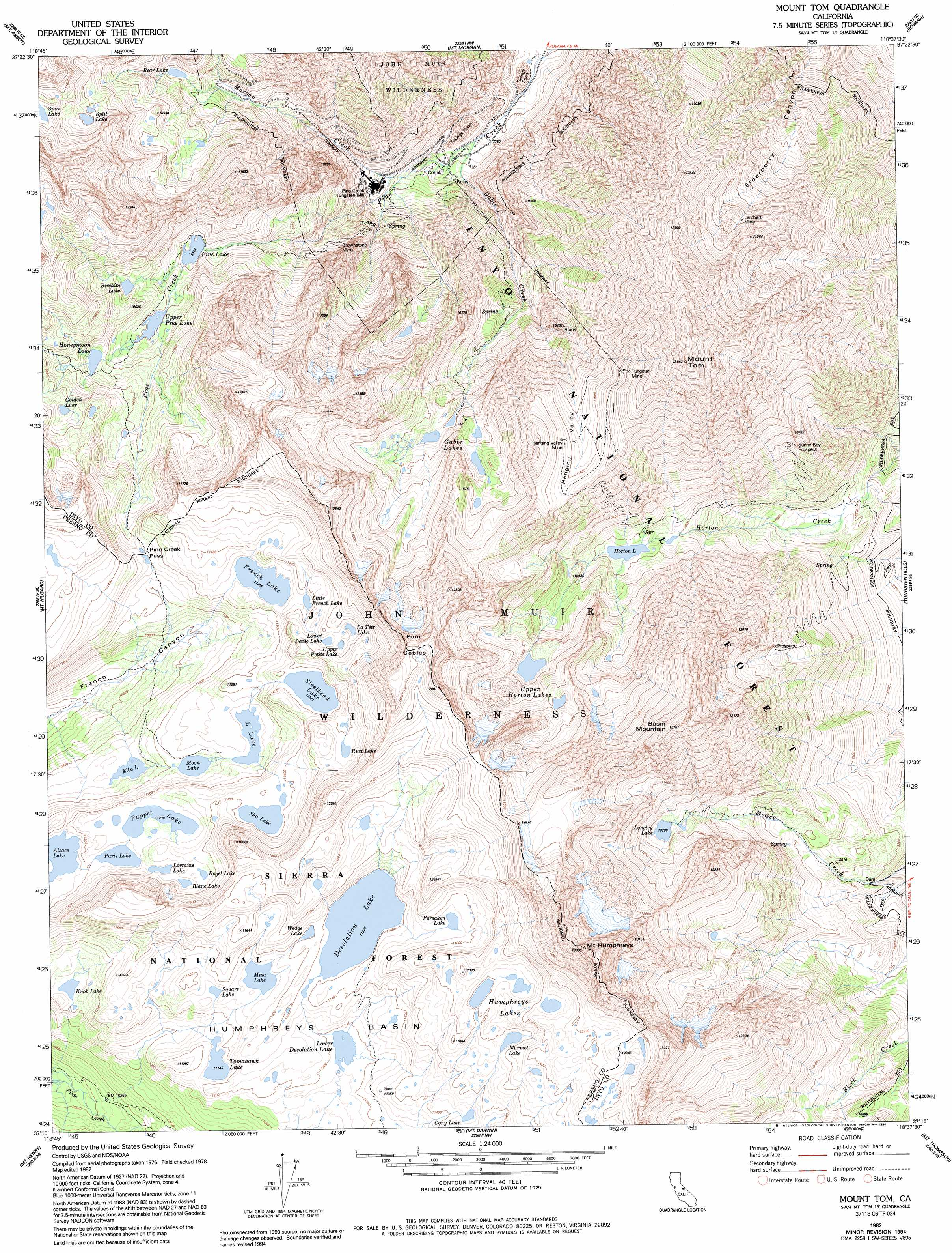 Mount Tom Topographic Map, CA