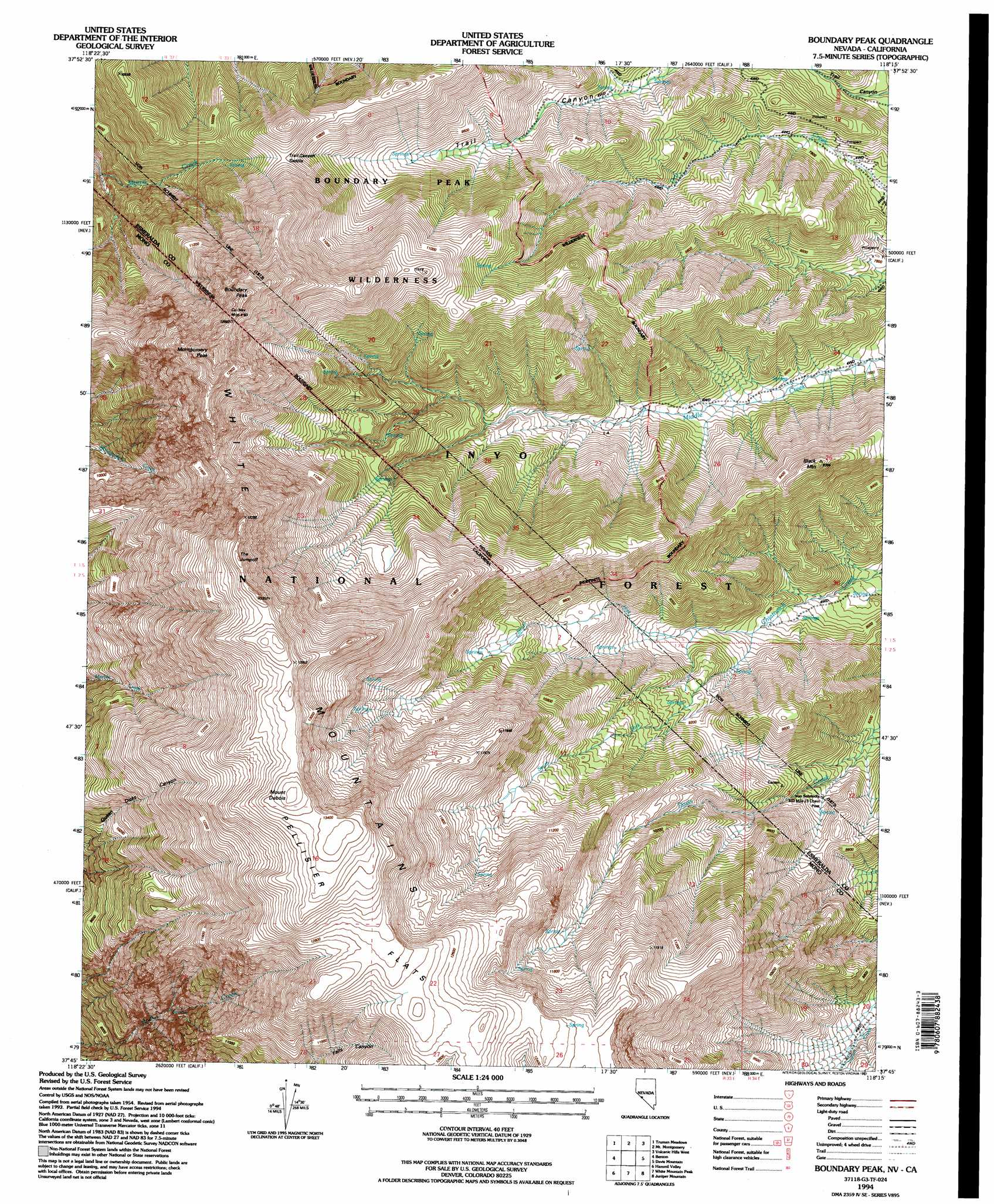 Topographic Map Of Nevada.Boundary Peak Topographic Map Nv Ca Usgs Topo Quad 37118g3