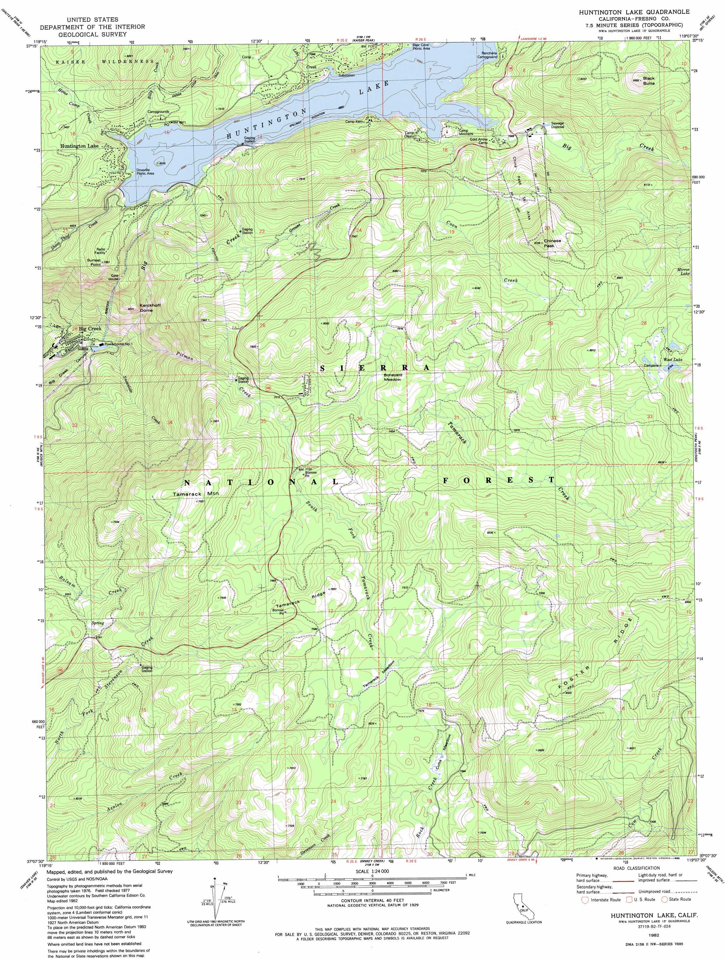Huntington Lake Topographic Map Ca Usgs Topo Quad 37119b2