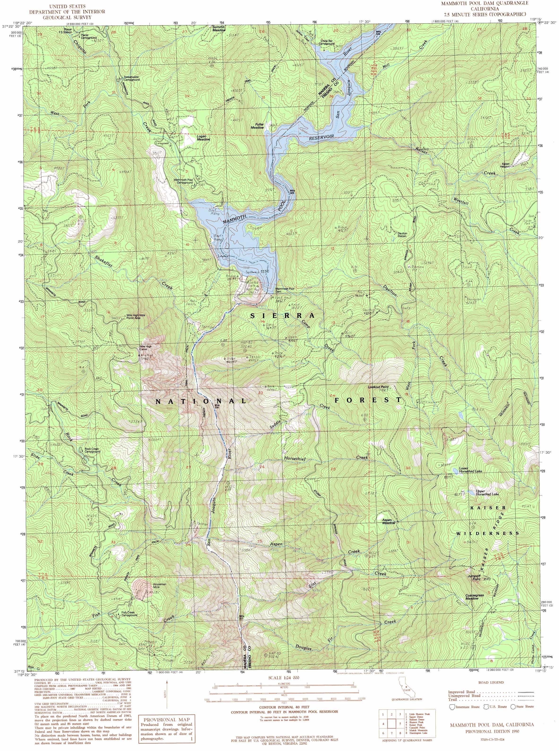 Mammoth Pool Dam Topographic Map Ca Usgs Topo Quad 37119c3