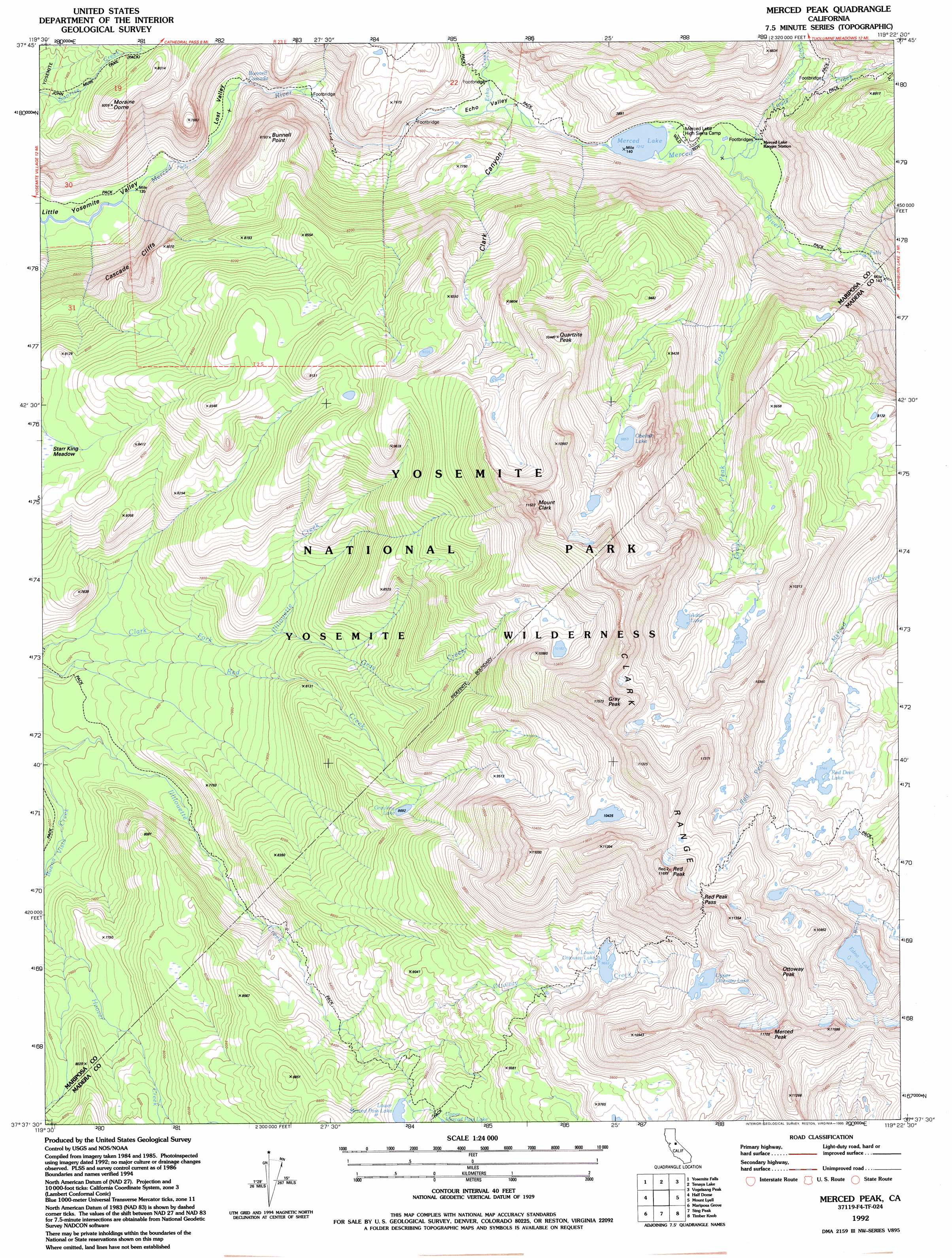 Merced Peak Topographic Map Ca Usgs Topo Quad 37119f4
