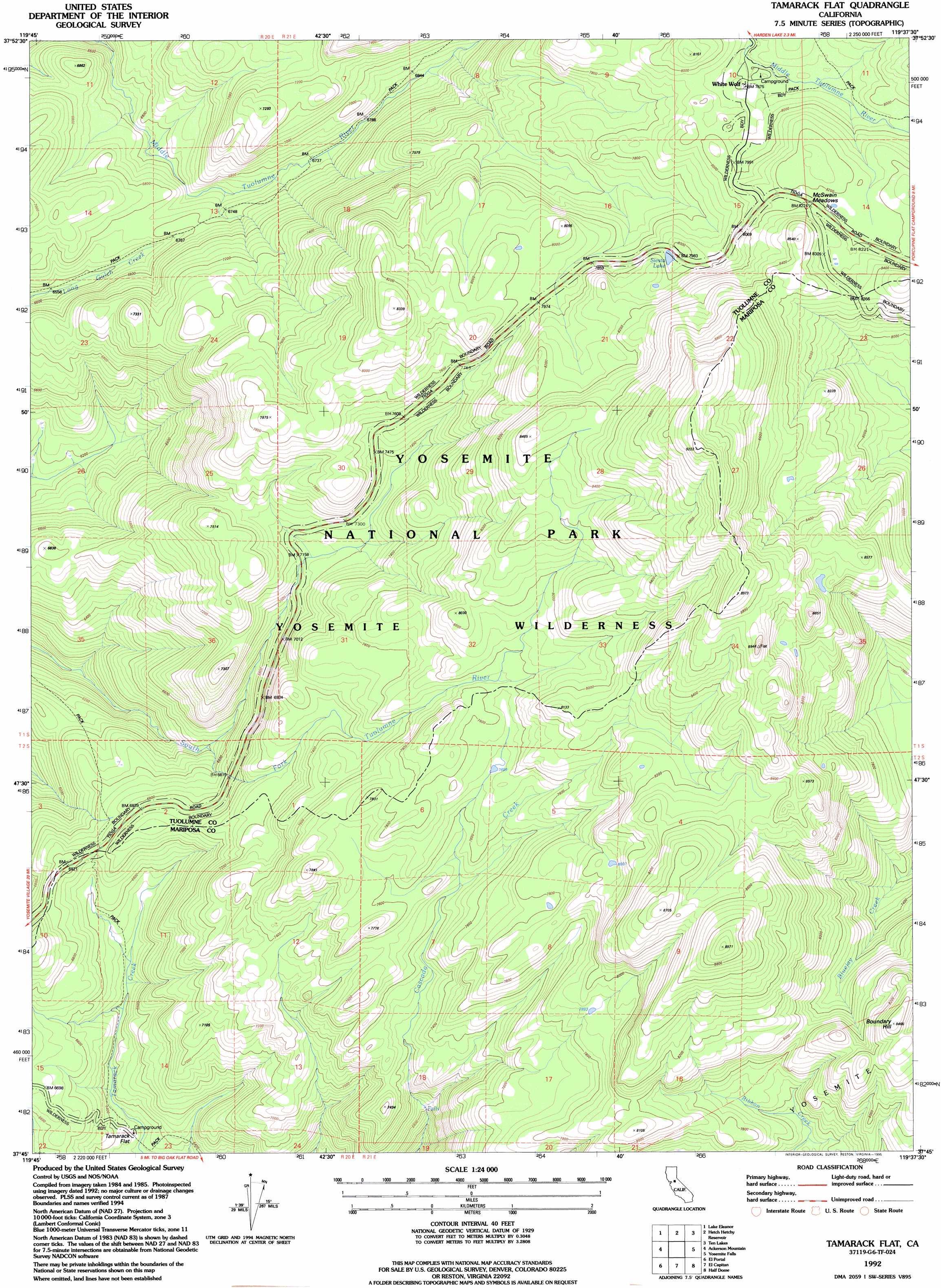 Tamarack Flat Topographic Map CA USGS Topo Quad G - Flat us map