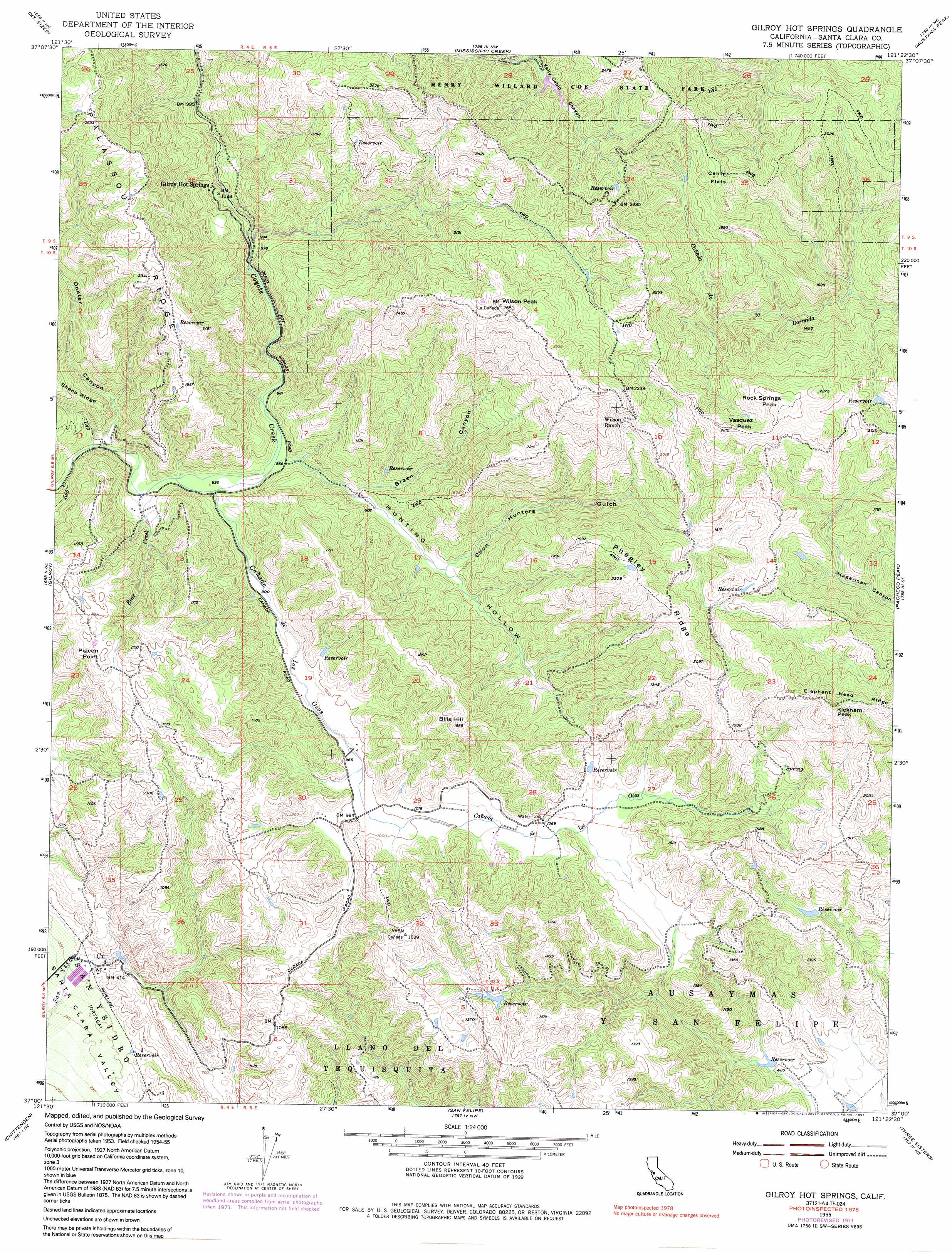 Gilroy Hot Springs topographic map CA USGS Topo Quad 37121a4