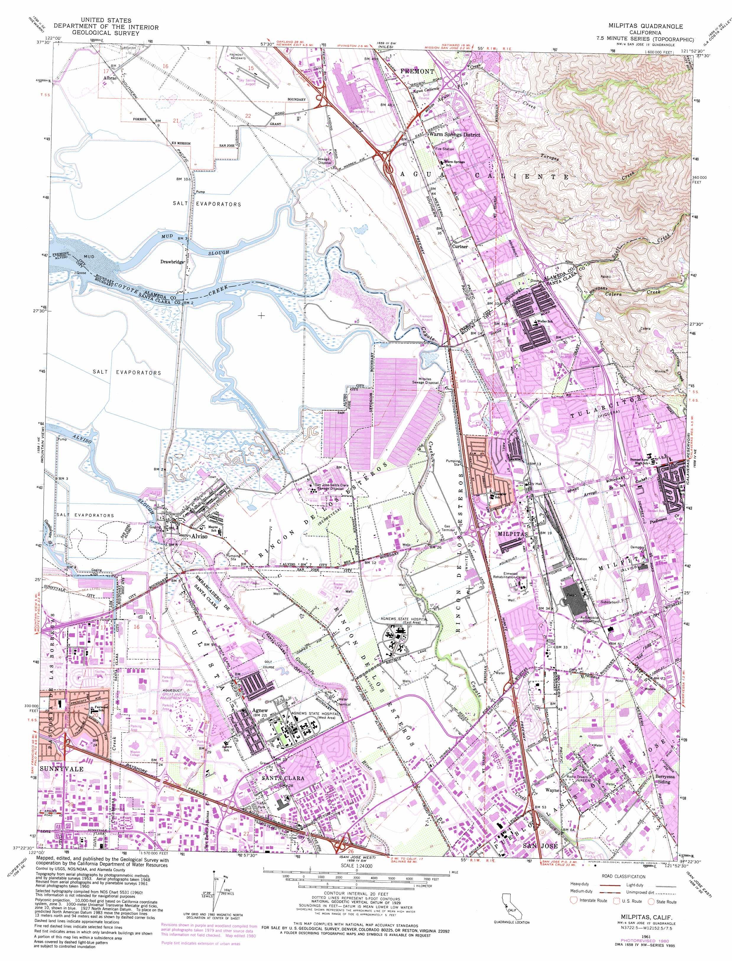 Milpitas topographic map, CA - USGS Topo Quad 37121d8