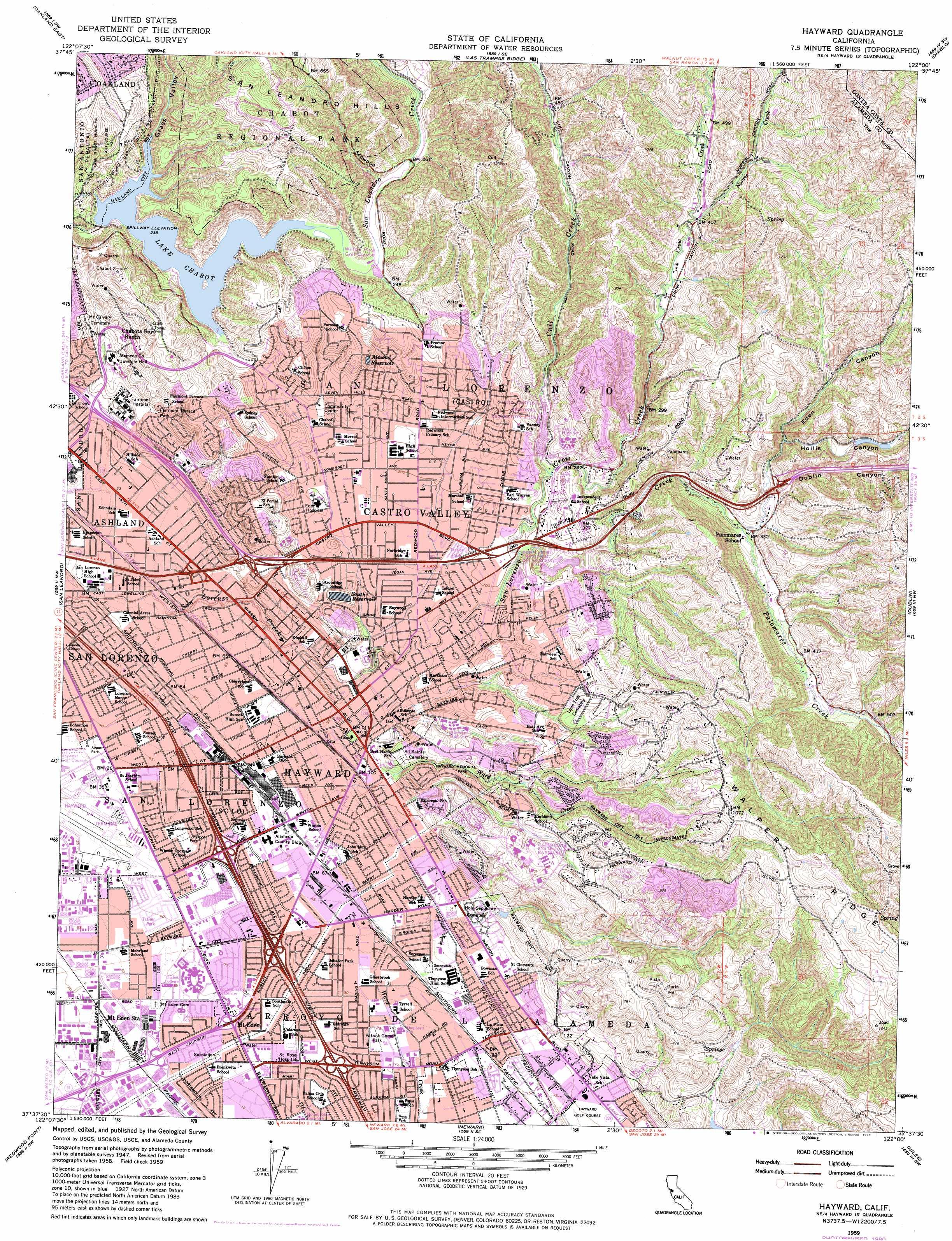 Hayward topographic map CA USGS Topo Quad 37122f1