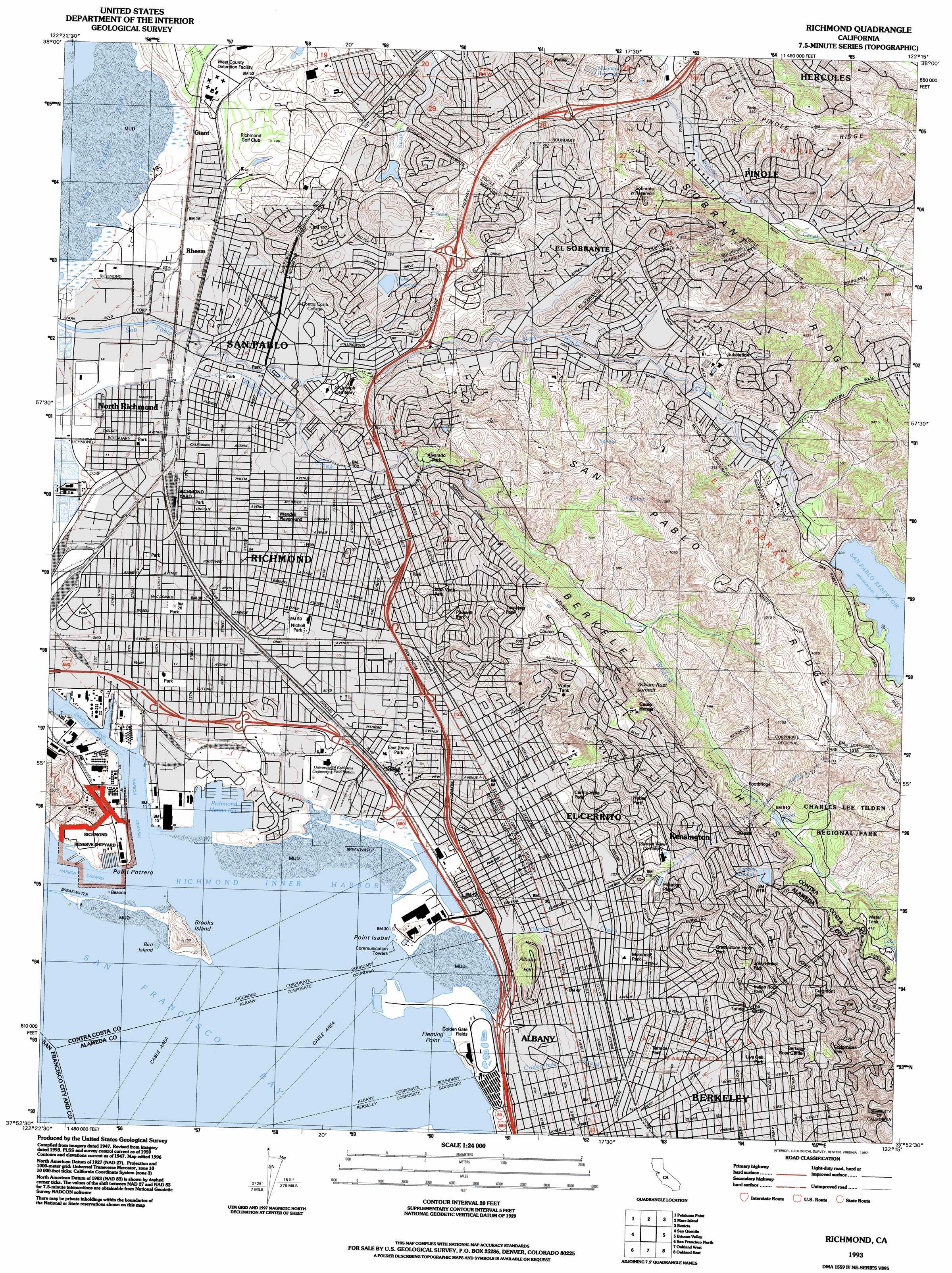 Richmond topographic map CA USGS Topo Quad 37122h3