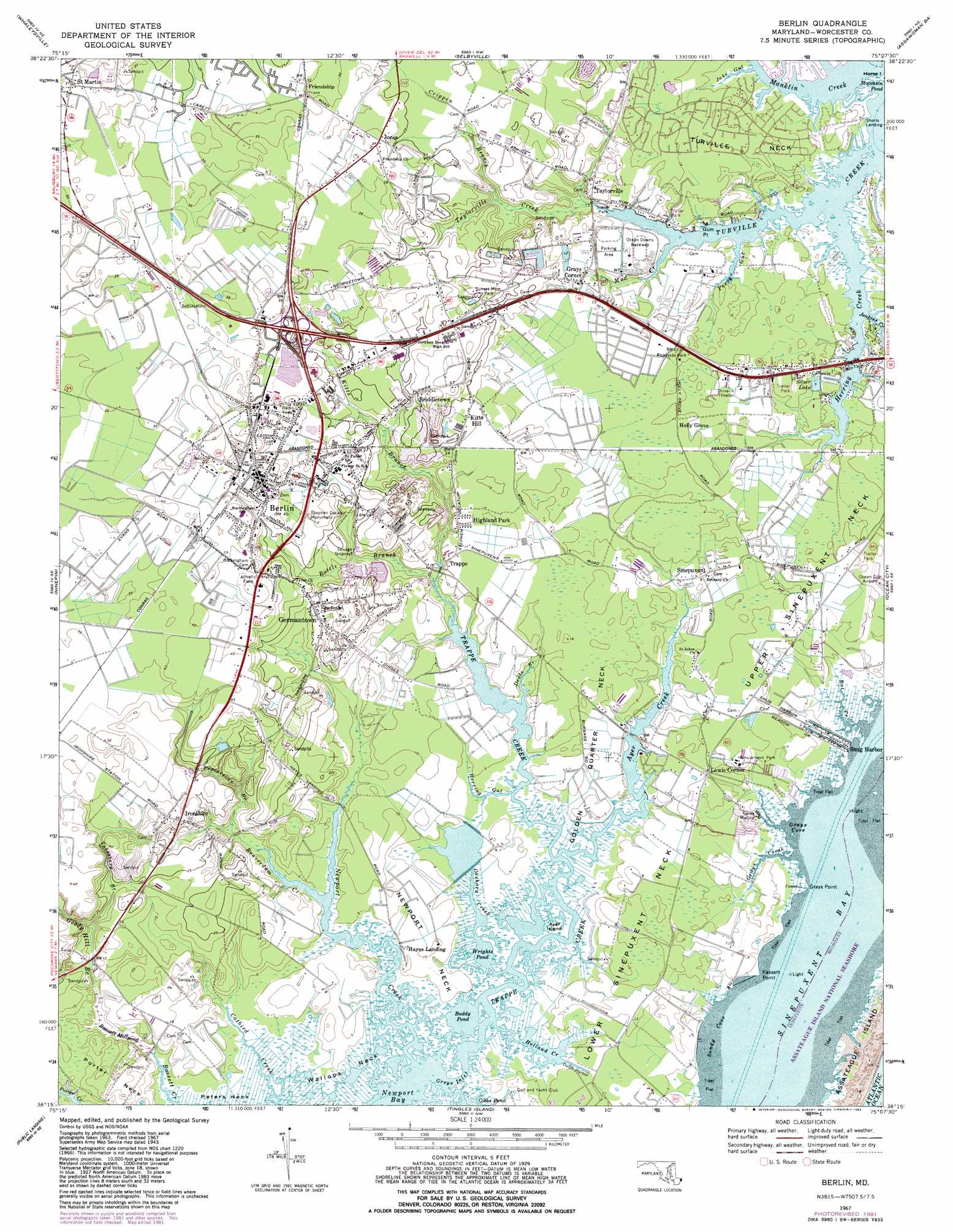 Berlin Topographic Map MD  USGS Topo Quad 38075c2