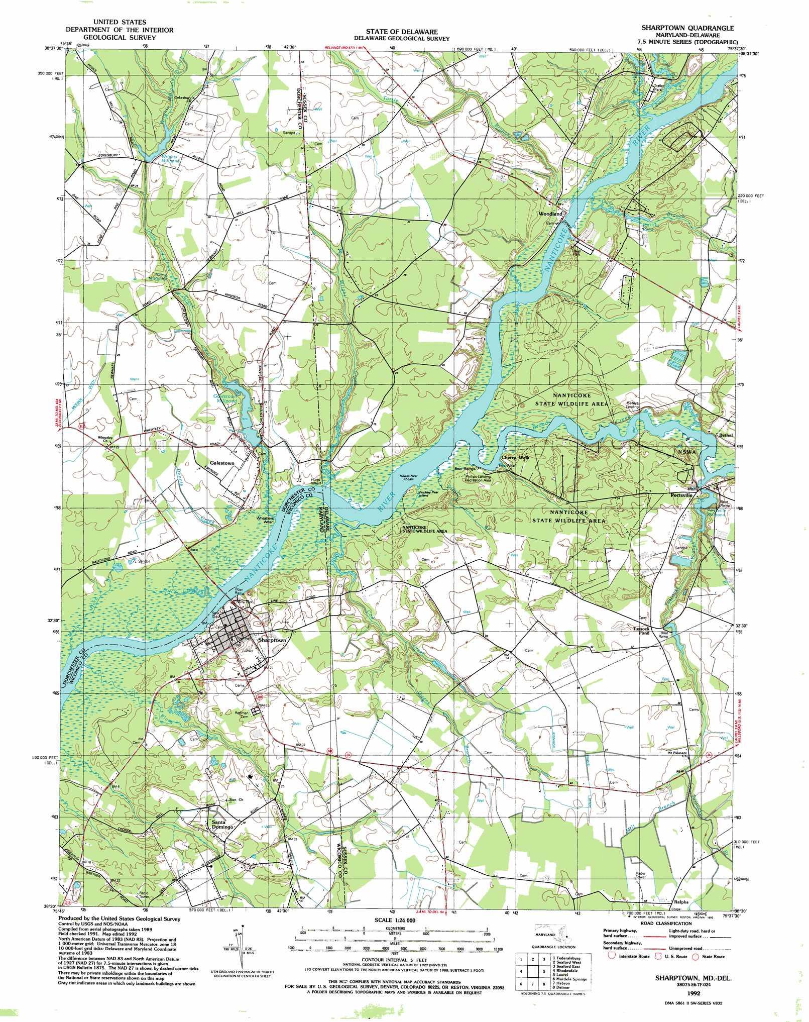 Sharptown Topographic Map DE MD  USGS Topo Quad 38075e6