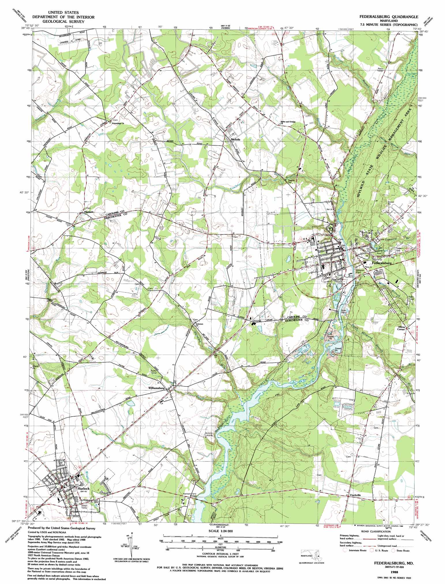 Federalsburg Topographic Map MD  USGS Topo Quad 38075f7