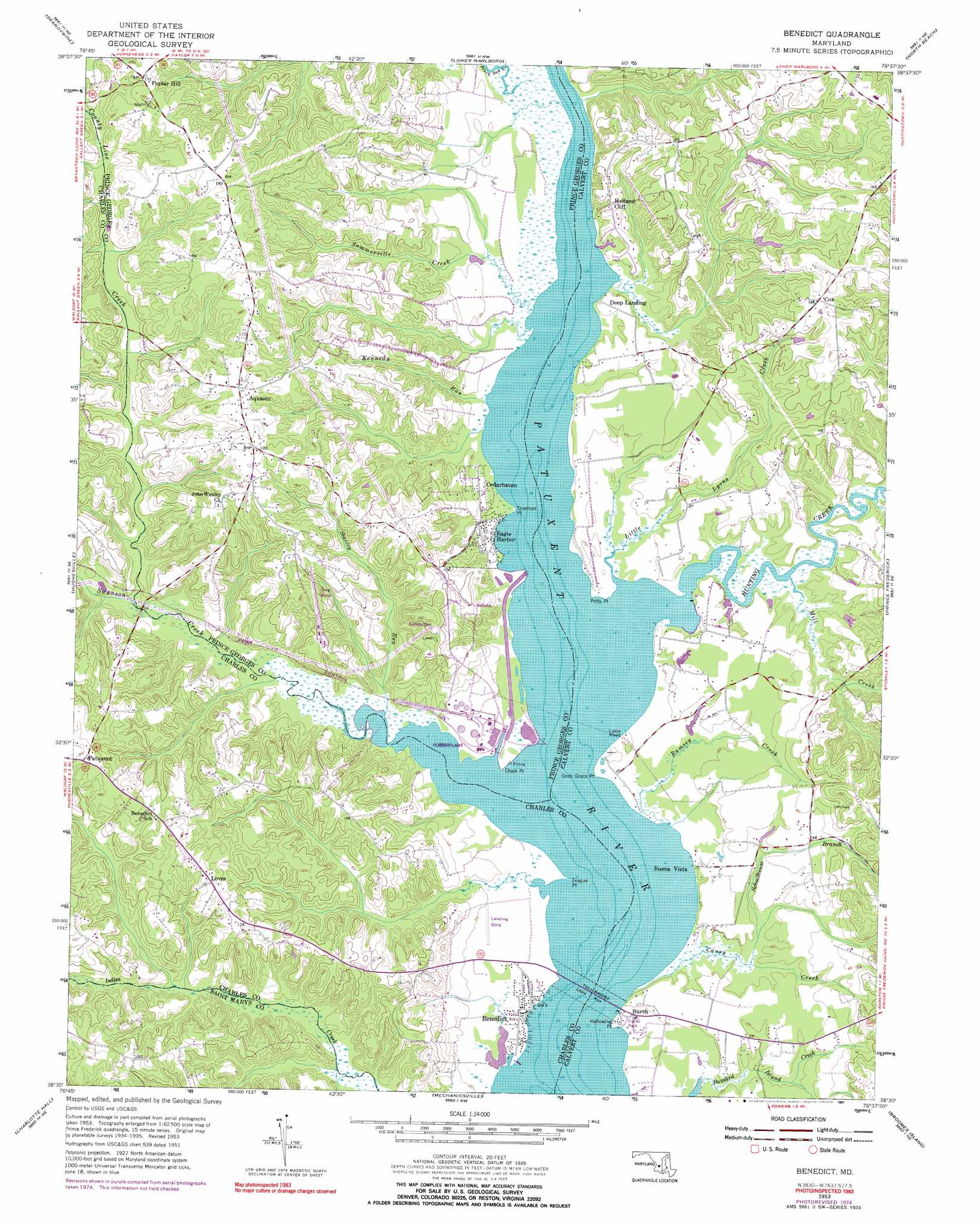 Benedict Topographic Map MD  USGS Topo Quad 38076e6