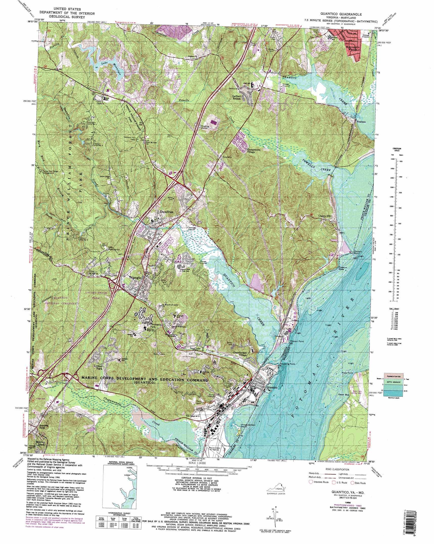 Quantico Topographic Map VA MD  USGS Topo Quad 38077e3