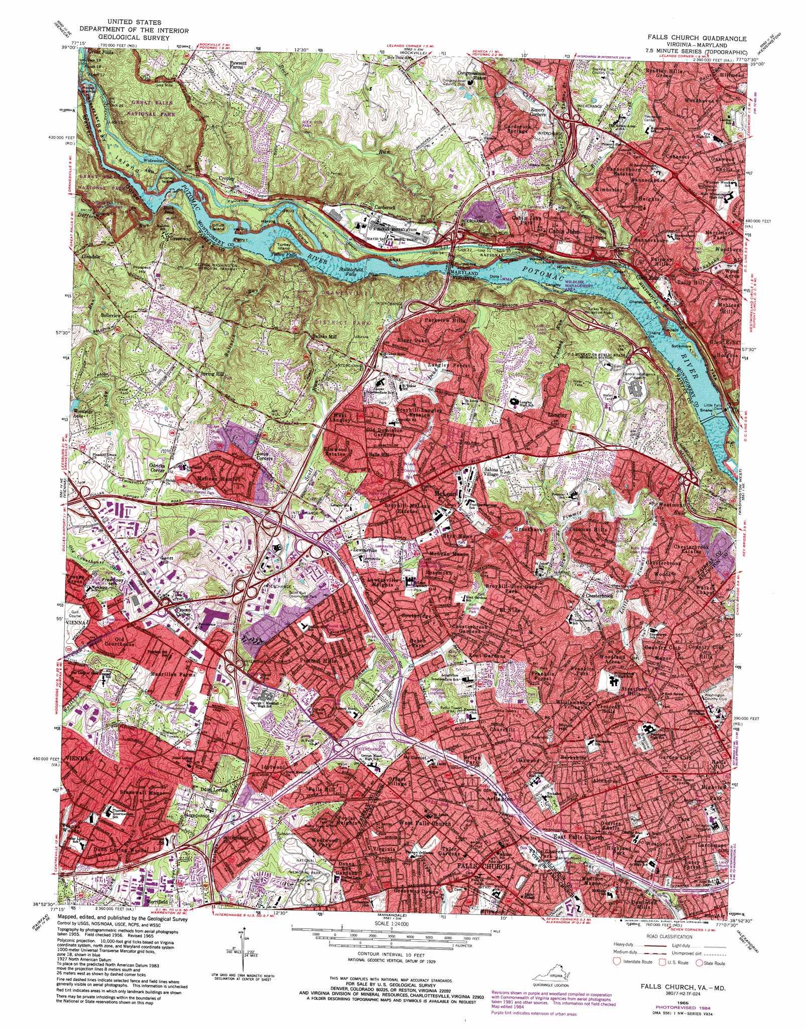 Falls Church Topographic Map Va Md Usgs Topo Quad 38077h2