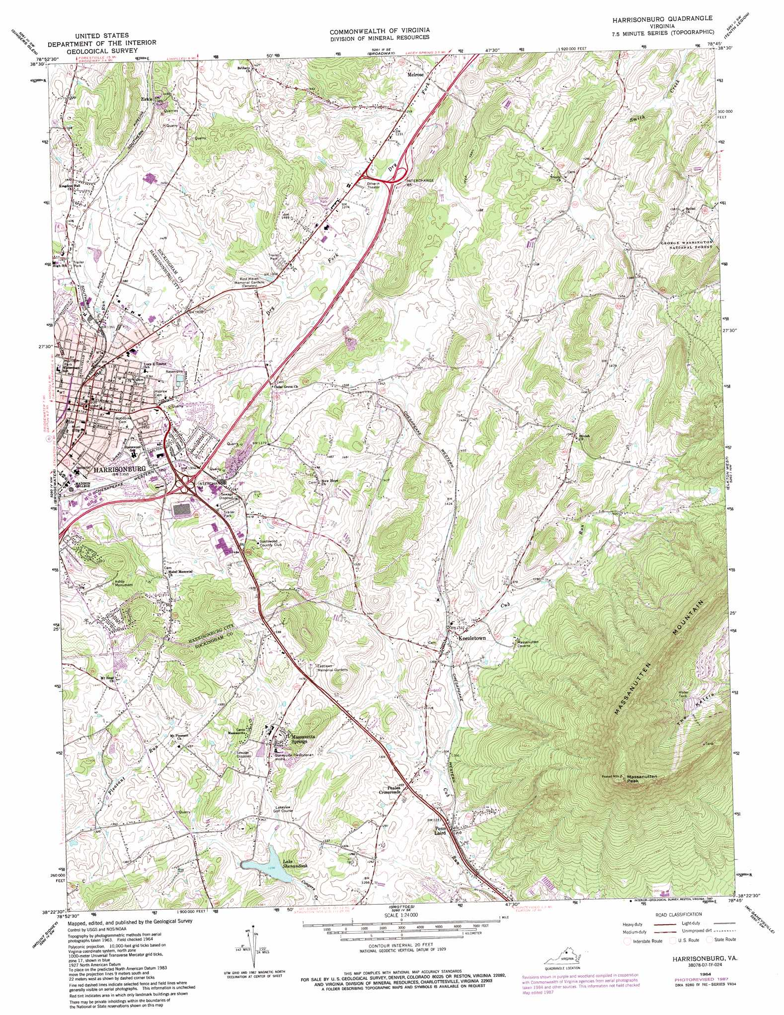 Harrisonburg Topographic Map VA  USGS Topo Quad 38078d7