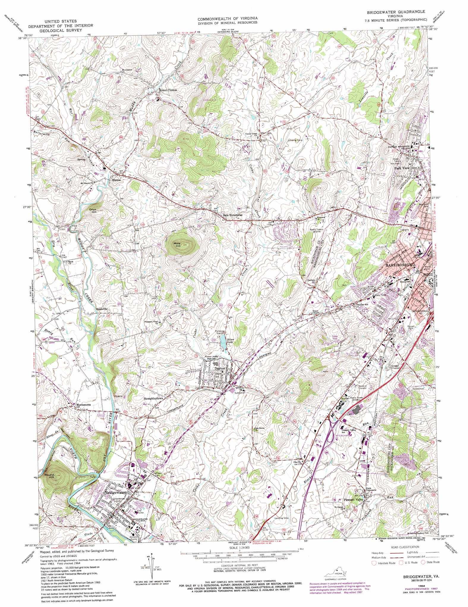 Bridgewater Topographic Map VA  USGS Topo Quad 38078d8