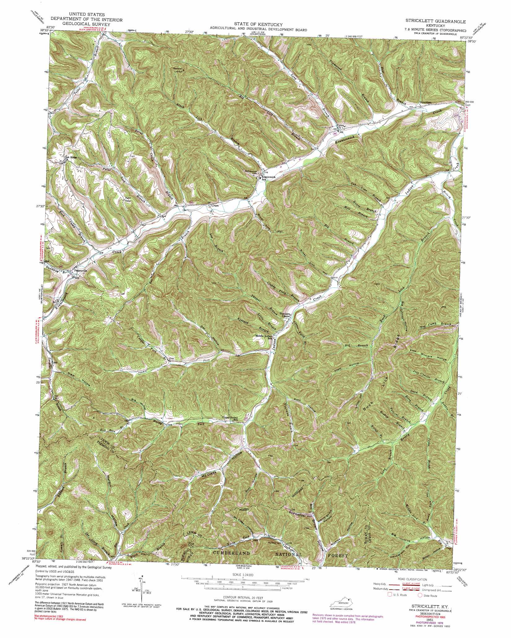 Stricklett Topographic Map KY  USGS Topo Quad 38083d4