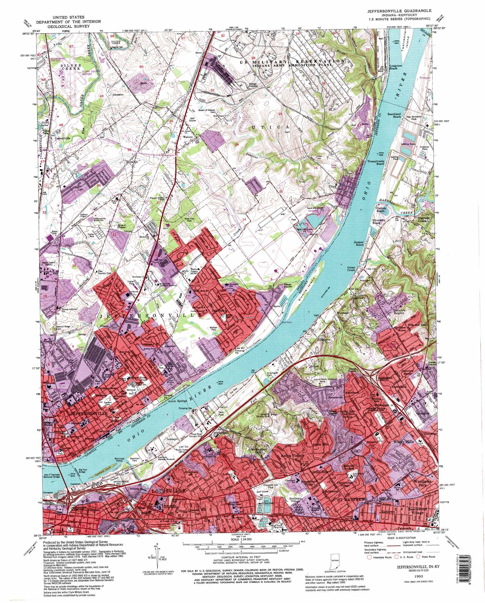 Jeffersonville topographic map, IN, KY - USGS Topo Quad 38085c6 on indiana division of reclamation, kentucky geological survey maps, wyoming department of transportation maps,