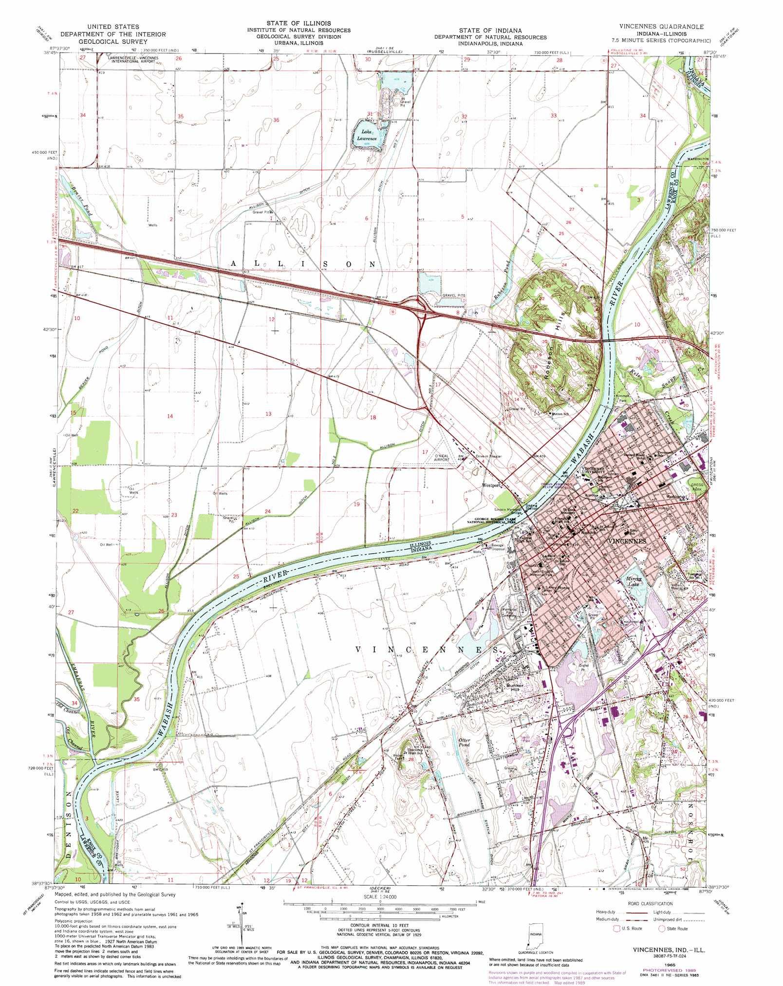 Vincennes Topographic Map IL IN  USGS Topo Quad 38087f5