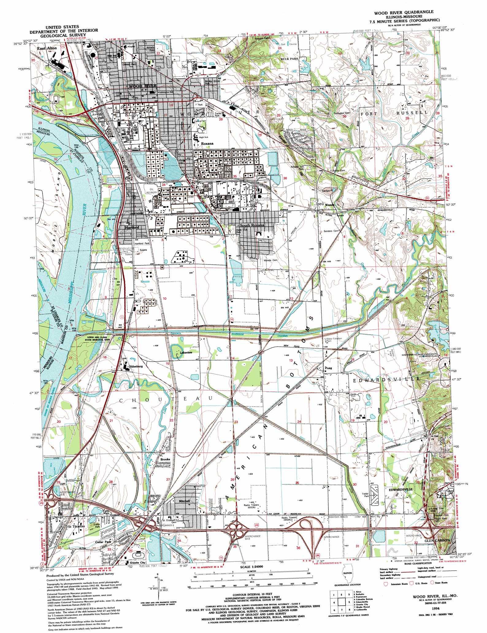 Wood River Il Elevation : Wood river topographic map il mo usgs topo quad g