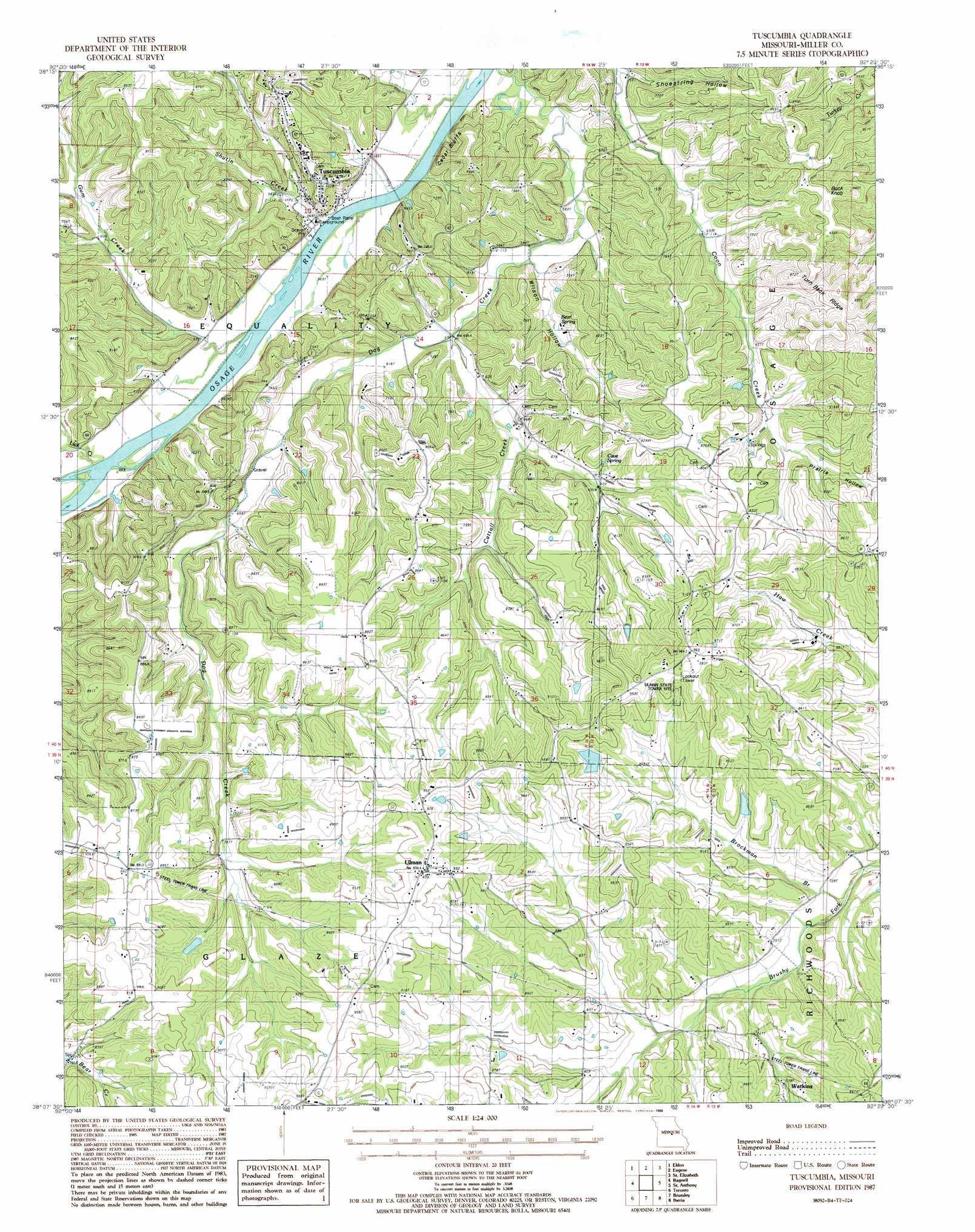 Tuscumbia Topographic Map Mo Usgs Topo Quad 38092b4