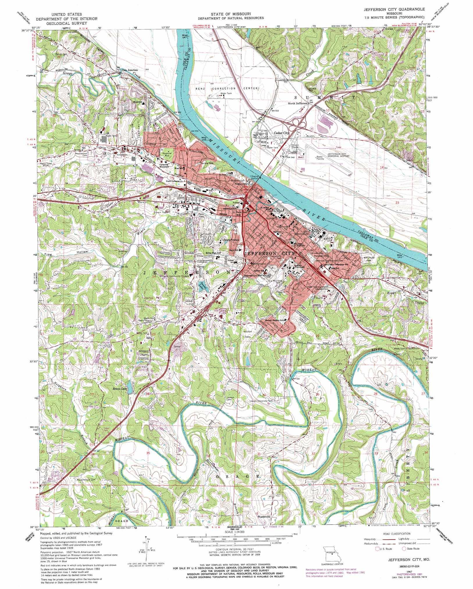 Jefferson City Topographic Map MO  USGS Topo Quad 38092e2