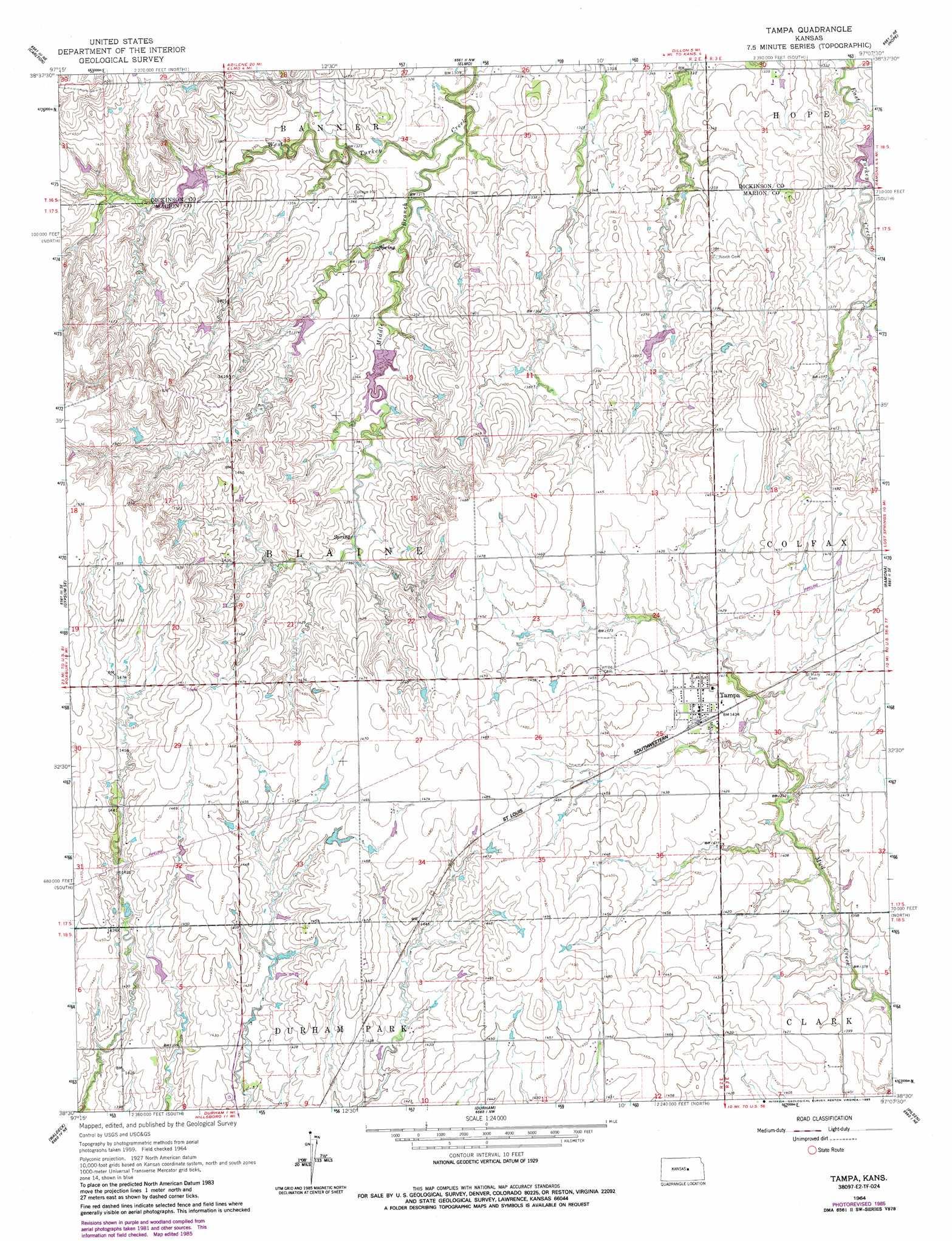 Tampa Topographic Map.Tampa Topographic Map Ks Usgs Topo Quad 38097e2