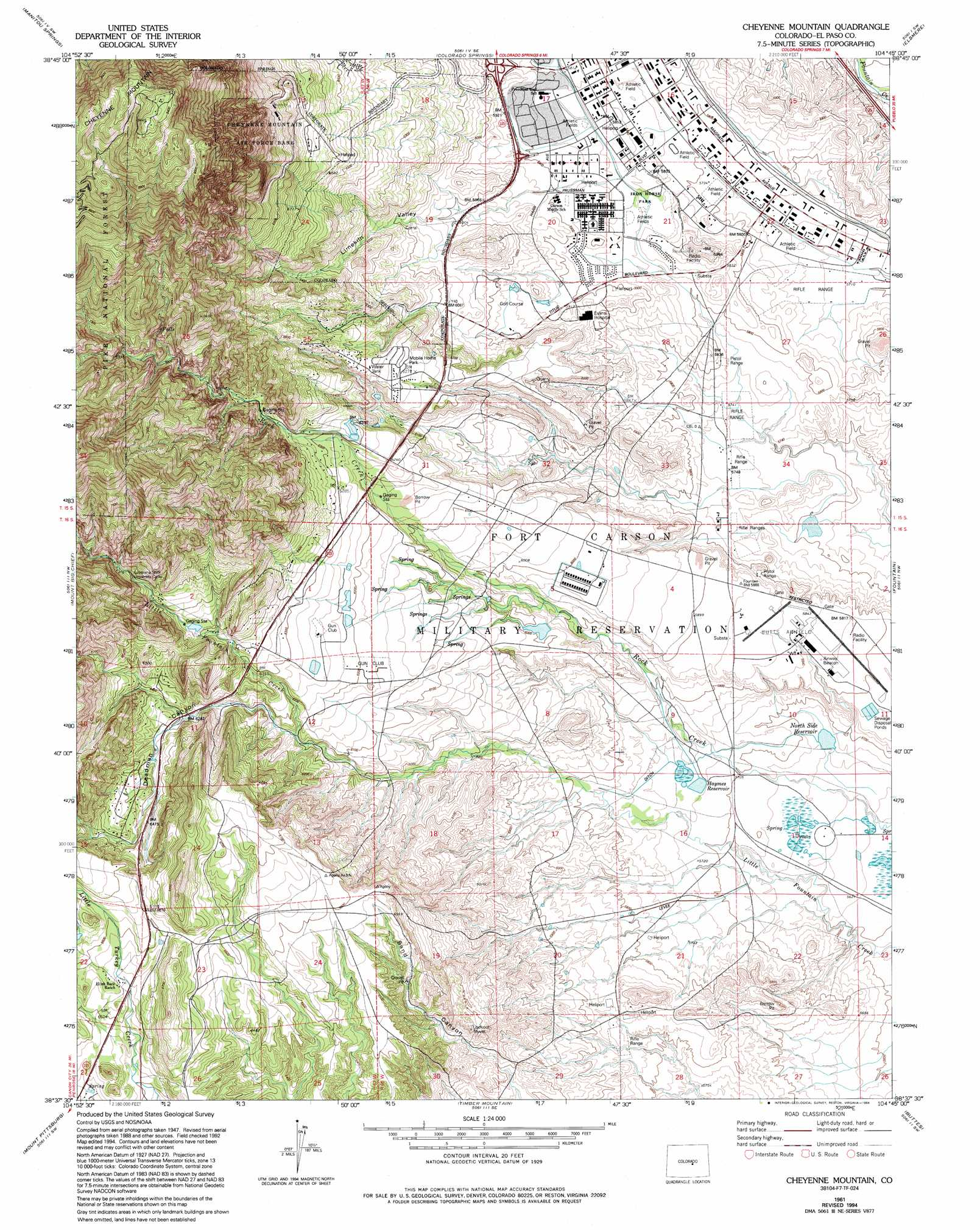 Cheyenne Mountain Topographic Map CO  USGS Topo Quad 38104f7