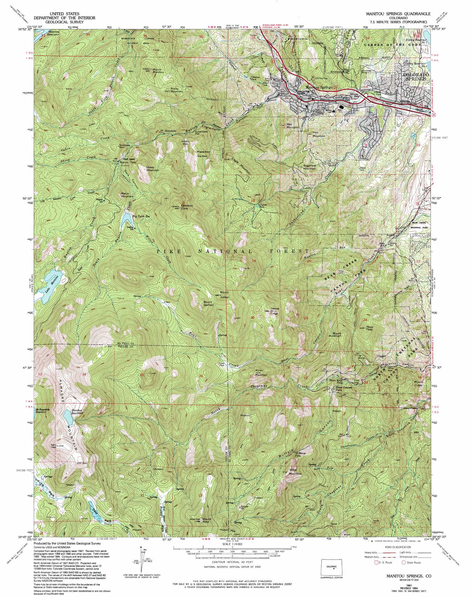 Topographic Map Colorado Springs.Manitou Springs Topographic Map Co Usgs Topo Quad 38104g8
