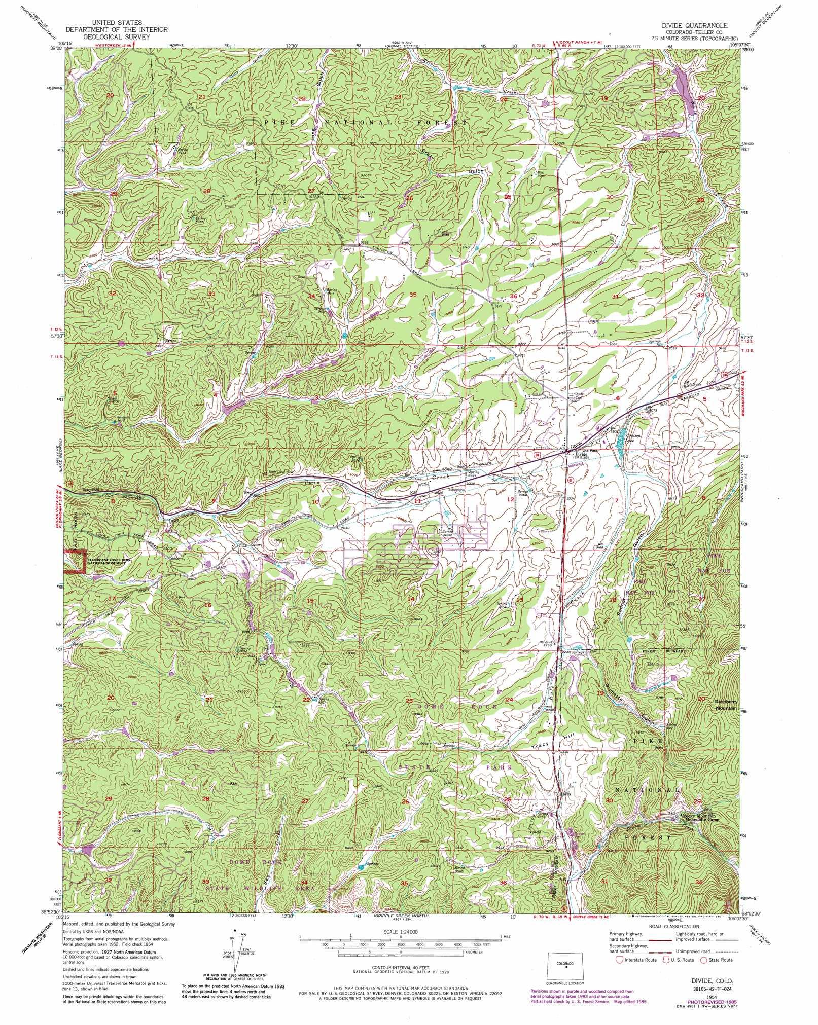Divide Topographic Map Co Usgs Topo Quad 38105h2