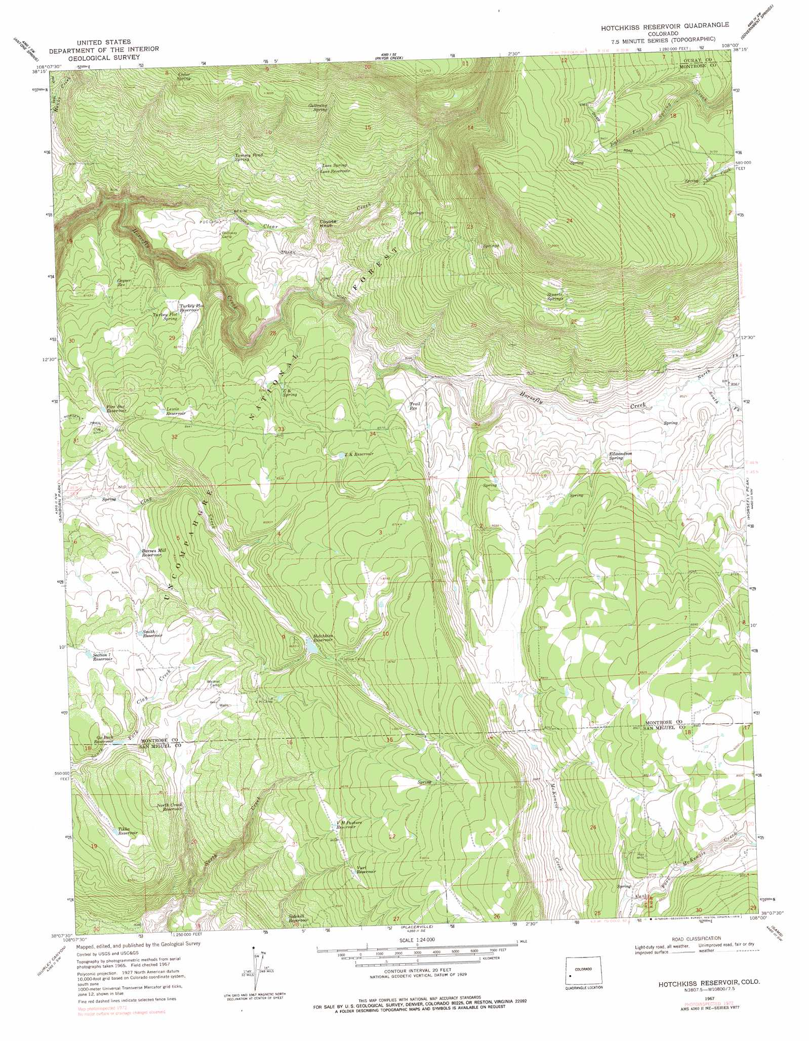 Hotchkiss Reservoir Topographic Map CO  USGS Topo Quad