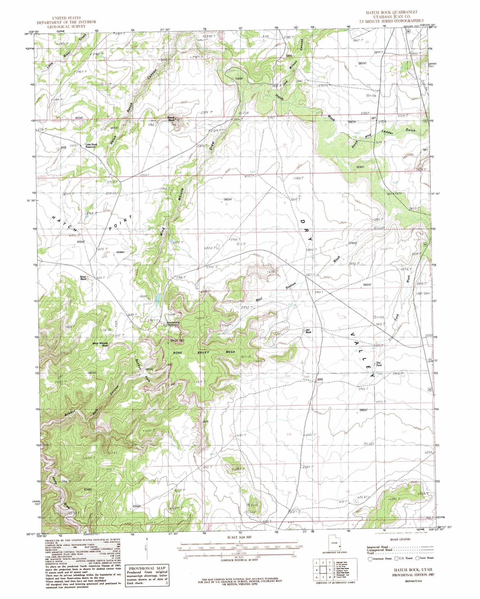 Hatch Rock topographic map UT USGS Topo Quad 38109b4