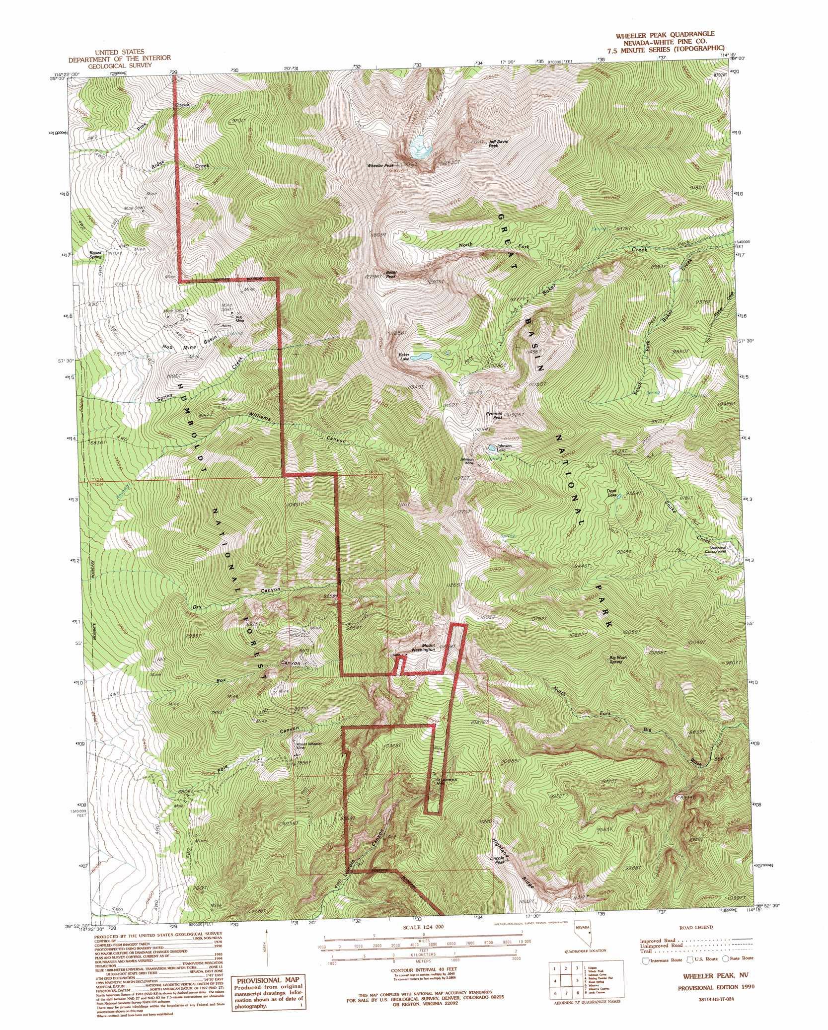 Wheeler Peak Topographic Map NV USGS Topo Quad H - Us geological topographic maps