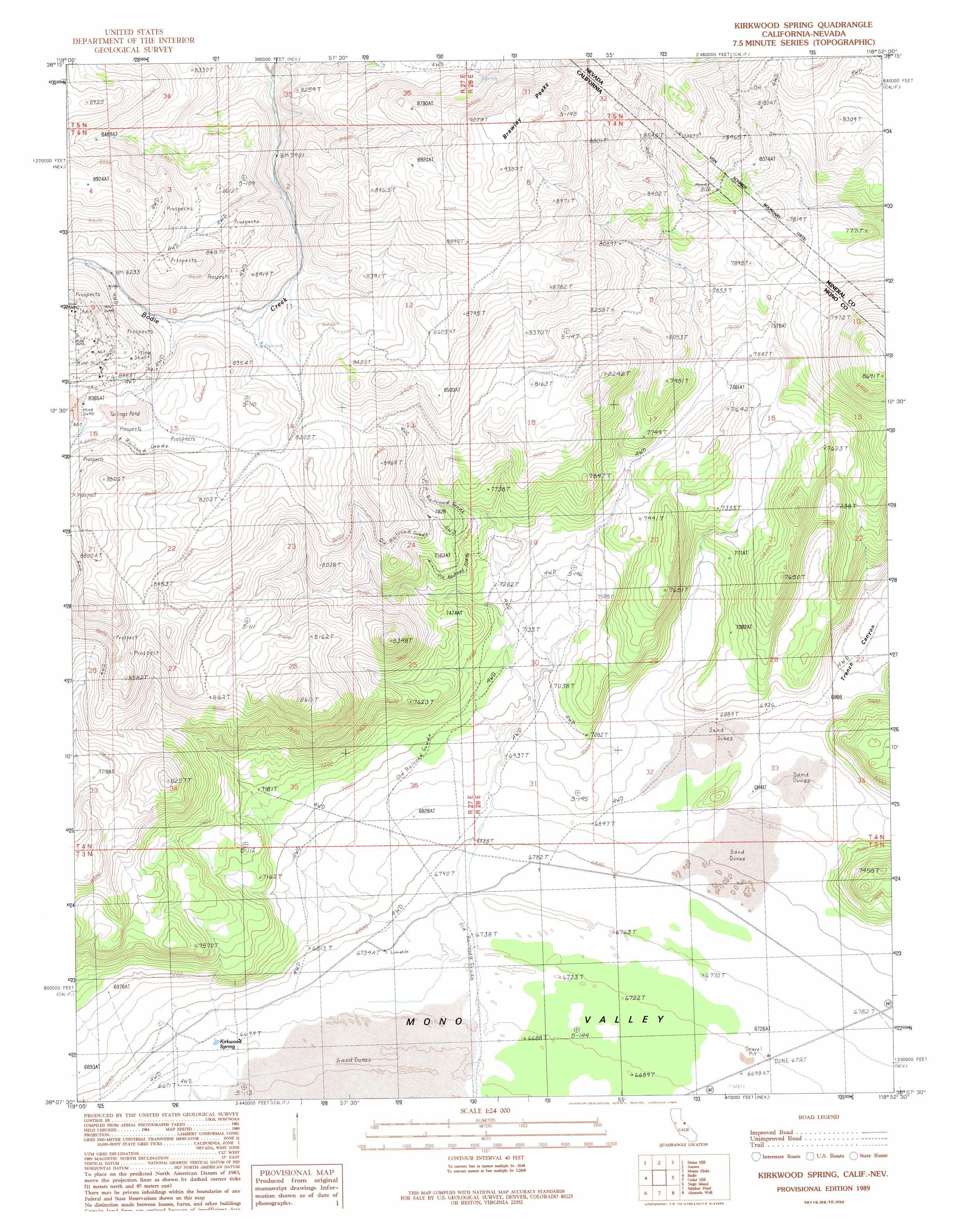 Kirkwood Spring Topographic Map CA NV  USGS Topo Quad