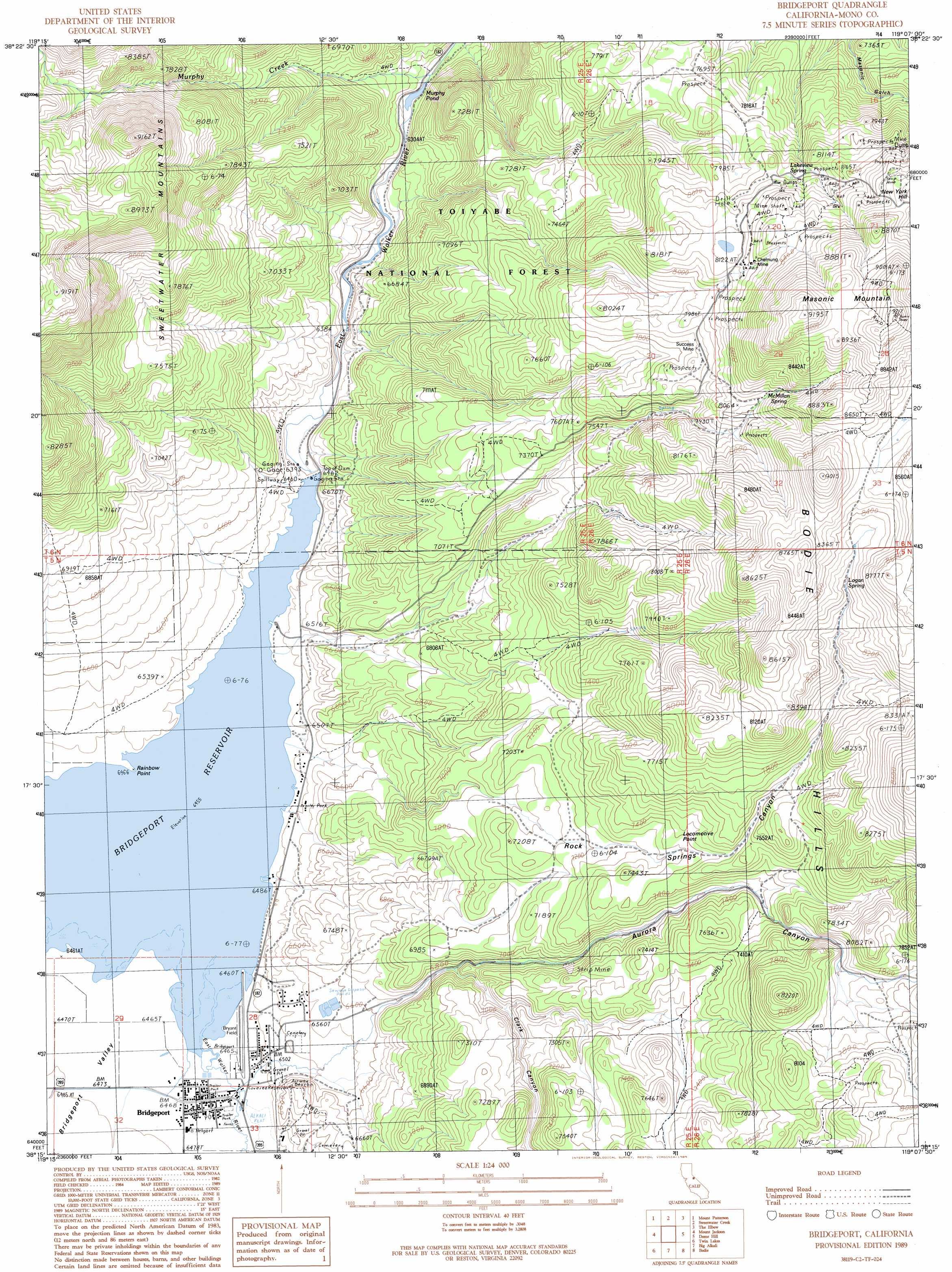 Bridgeport Topographic Map CA  USGS Topo Quad 38119c2