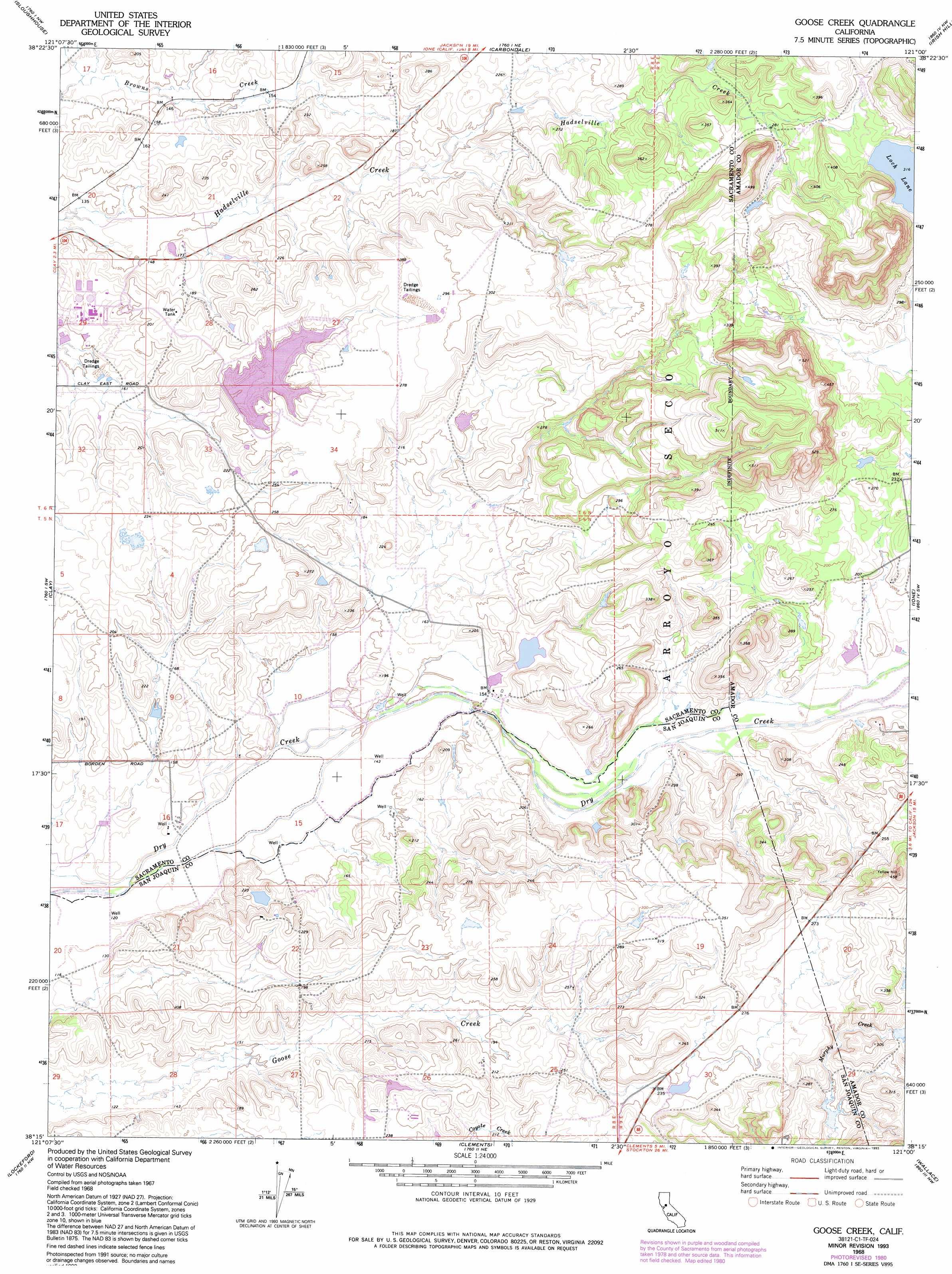 Goose Creek topographic map CA USGS Topo Quad 38121c1