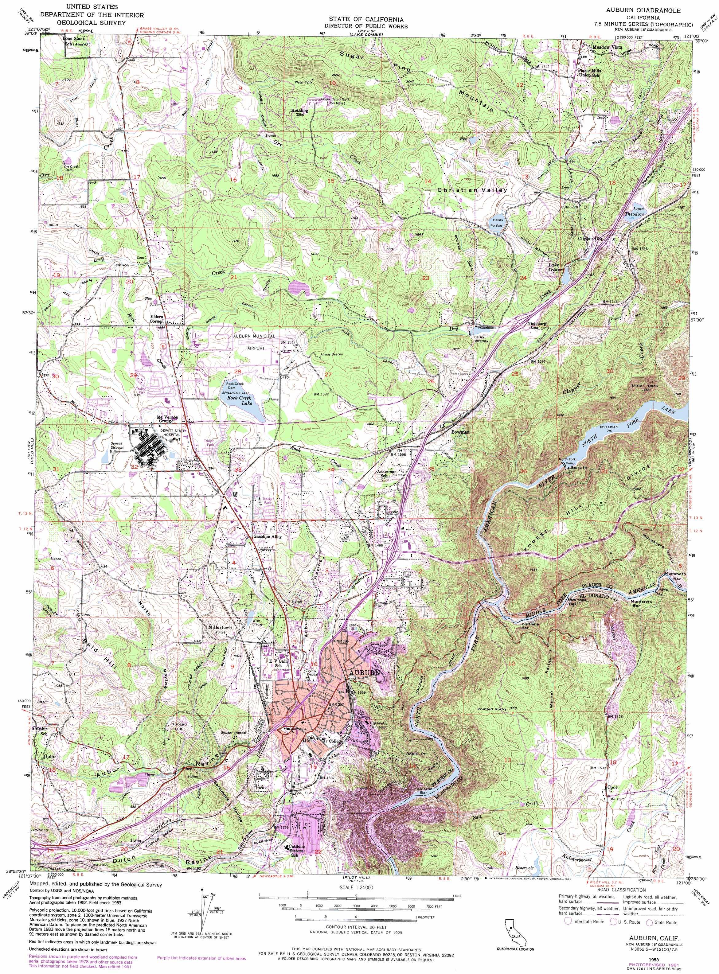 Auburn Topographic Map Ca Usgs Topo Quad 38121h1