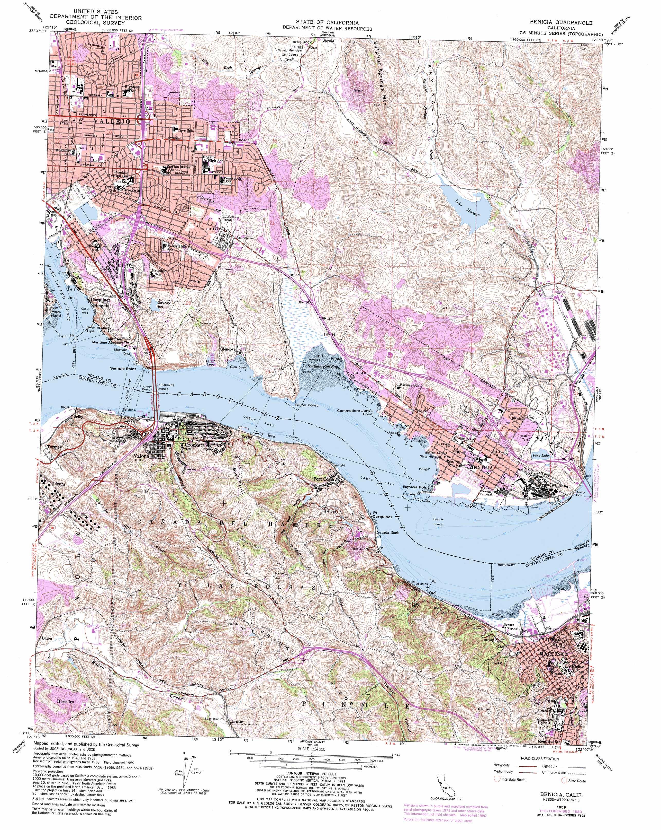 Benicia topographic map, CA - USGS Topo Quad 38122a2