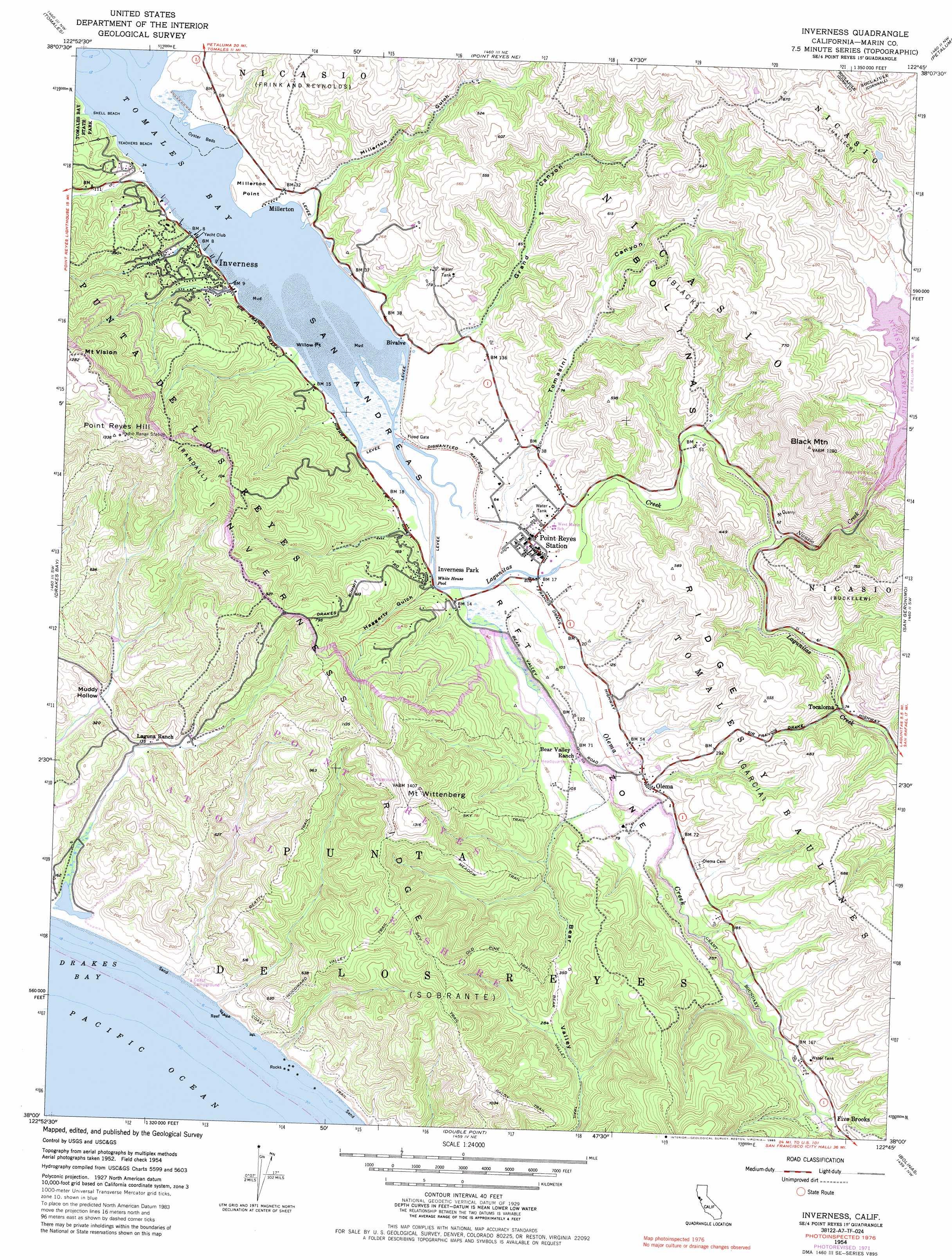 Inverness Topographic Map CA USGS Topo Quad A - Florida map inverness
