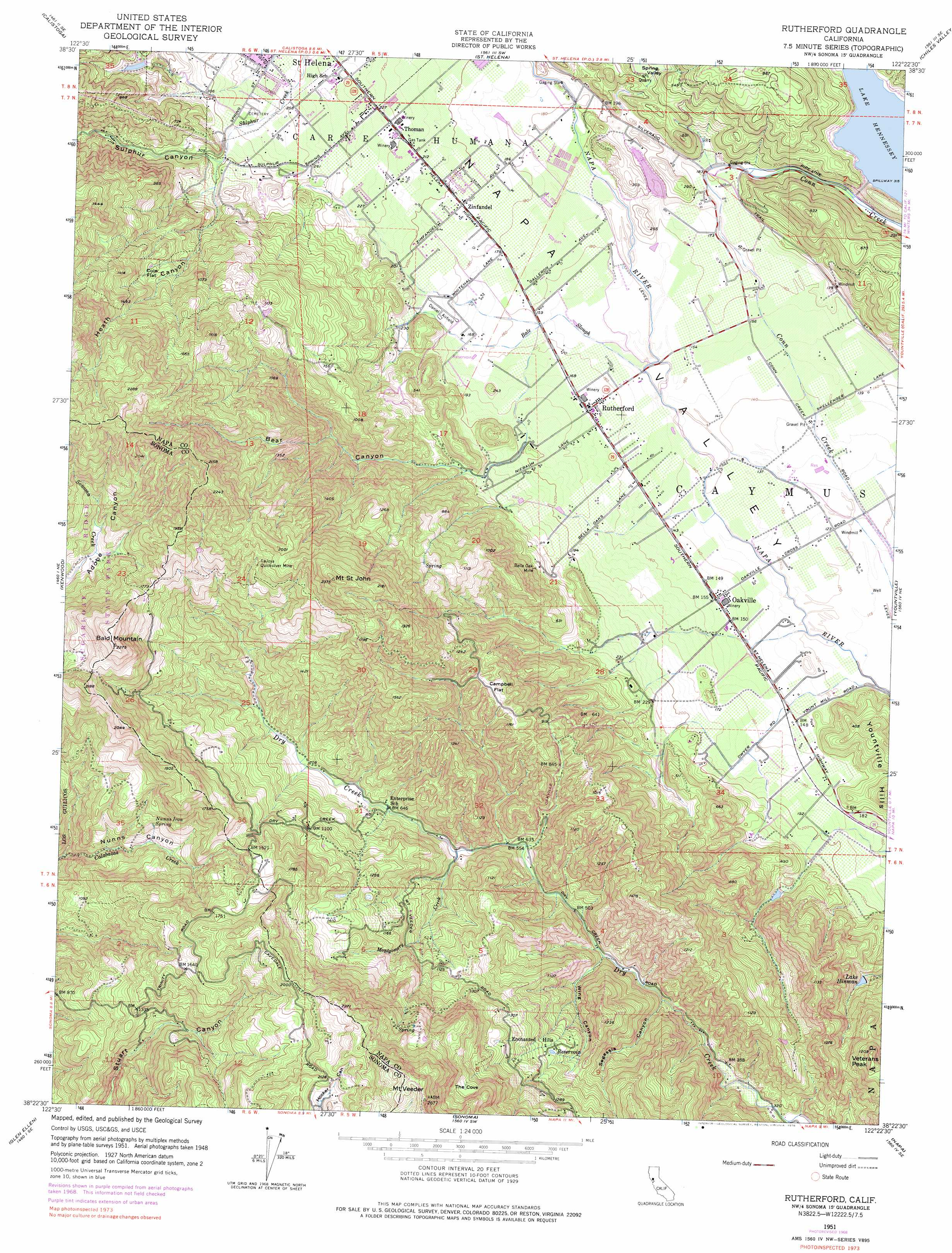 Rutherford Topographic Map CA USGS Topo Quad D - Us geological survey topographic maps for sale