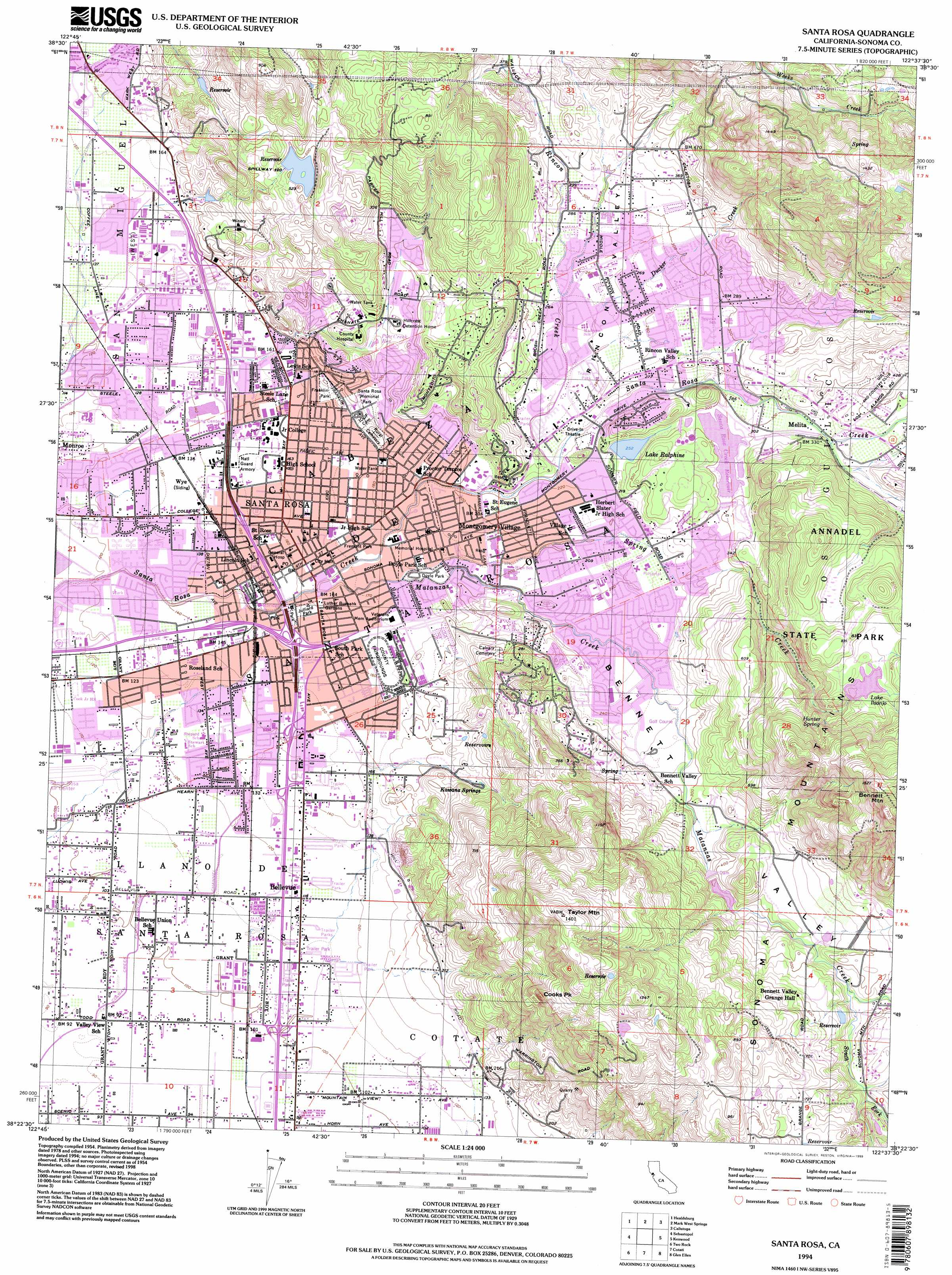 Santa Rosa topographic map CA USGS Topo Quad 38122d6