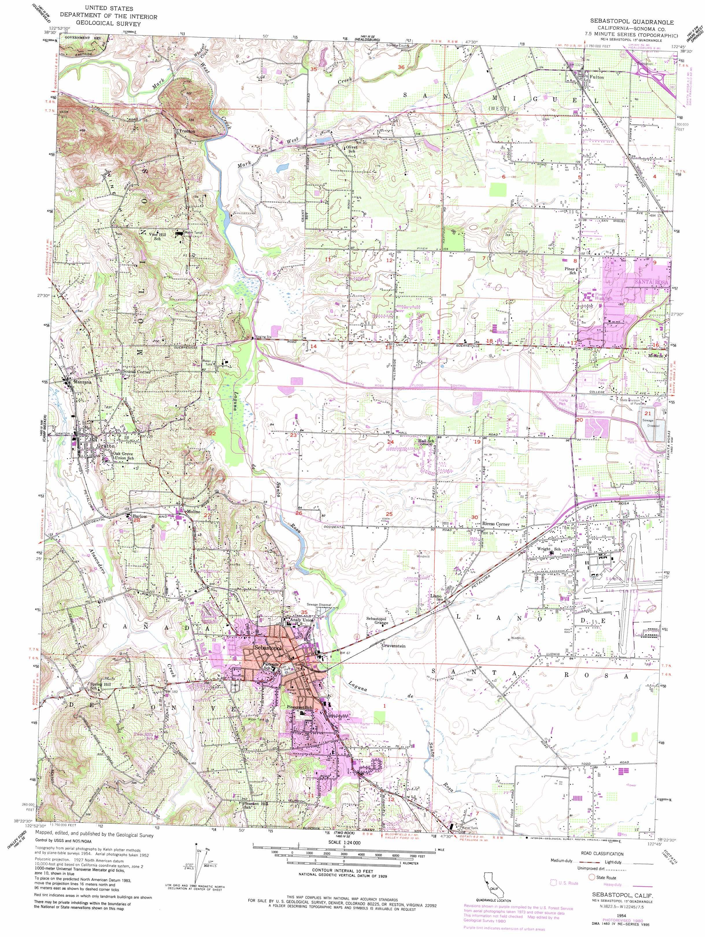 Sebastopol Topographic Map CA USGS Topo Quad D - Usgs quad maps