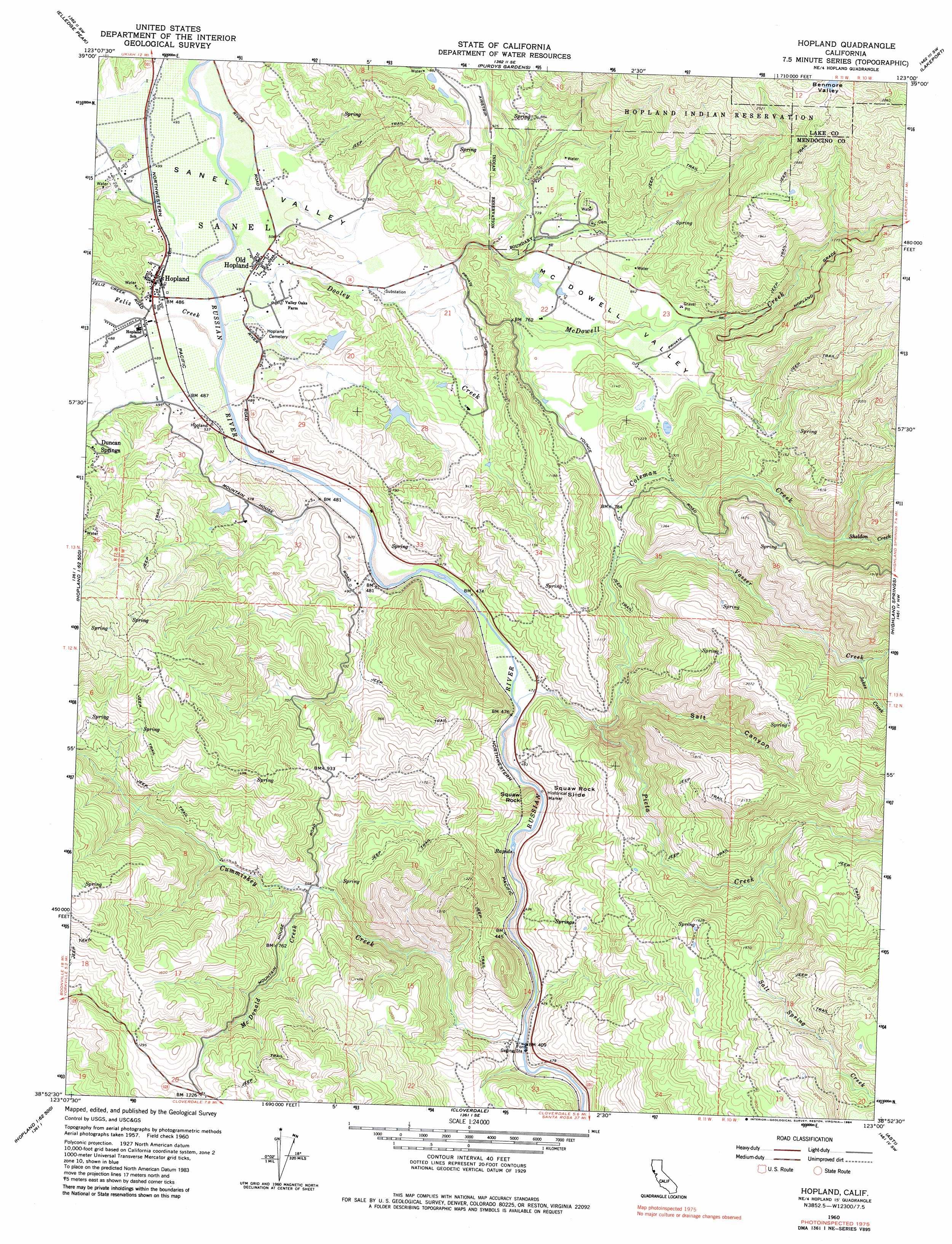 Hopland Topographic Map Ca Usgs Topo Quad 38123h1