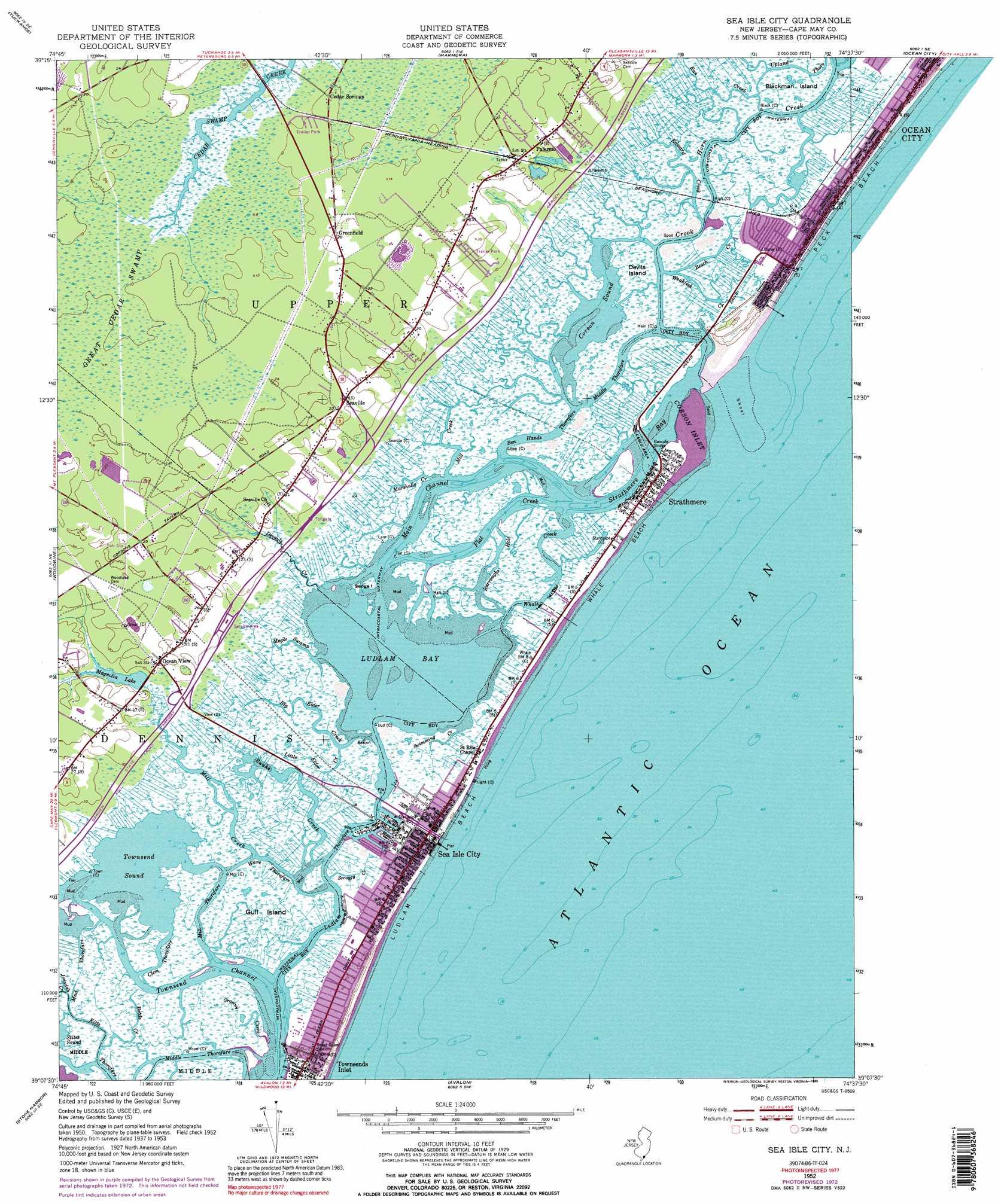 Sea Isle City topographic map NJ USGS Topo Quad 39074b6