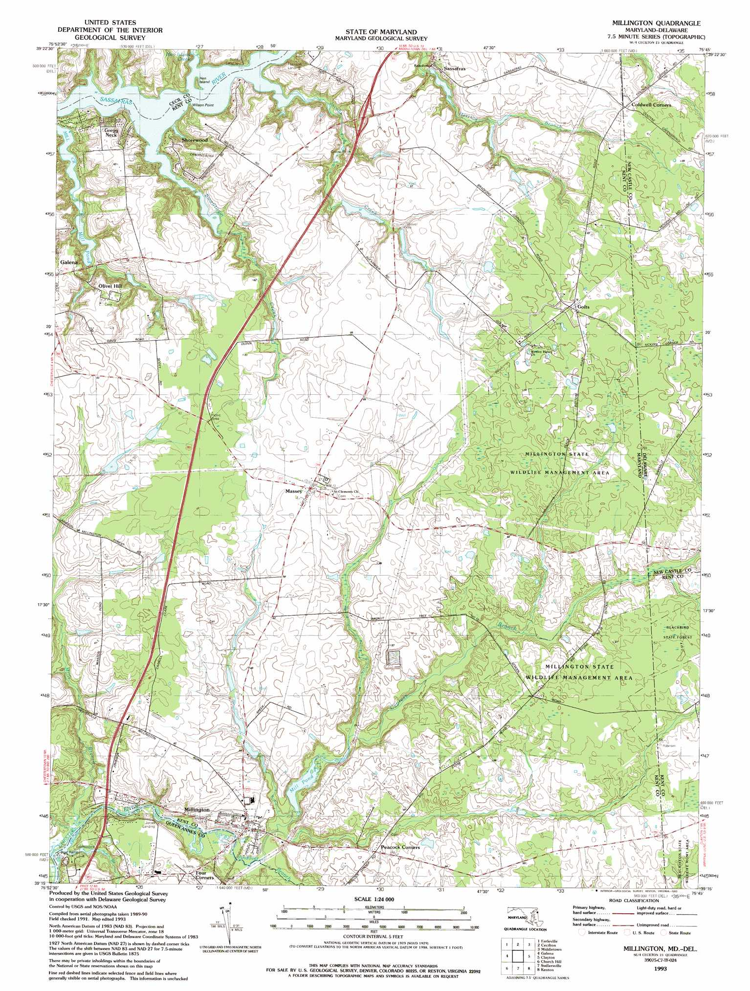 Millington Topographic Map MD DE  USGS Topo Quad 39075c7