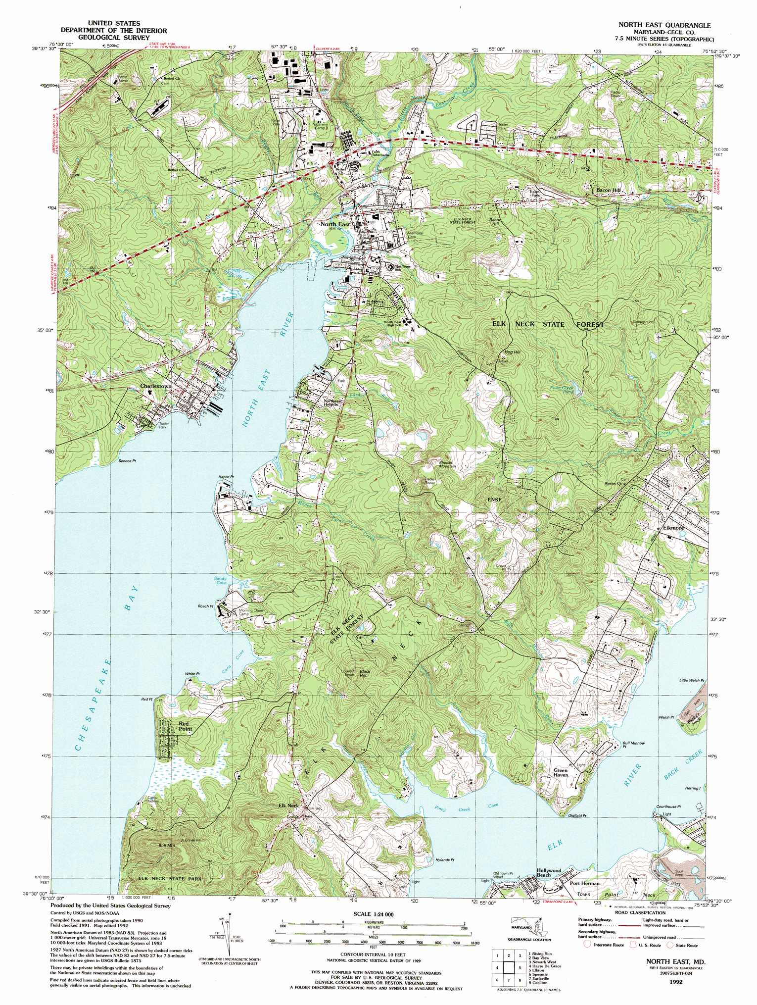 North East Topographic Map MD  USGS Topo Quad 39075e8