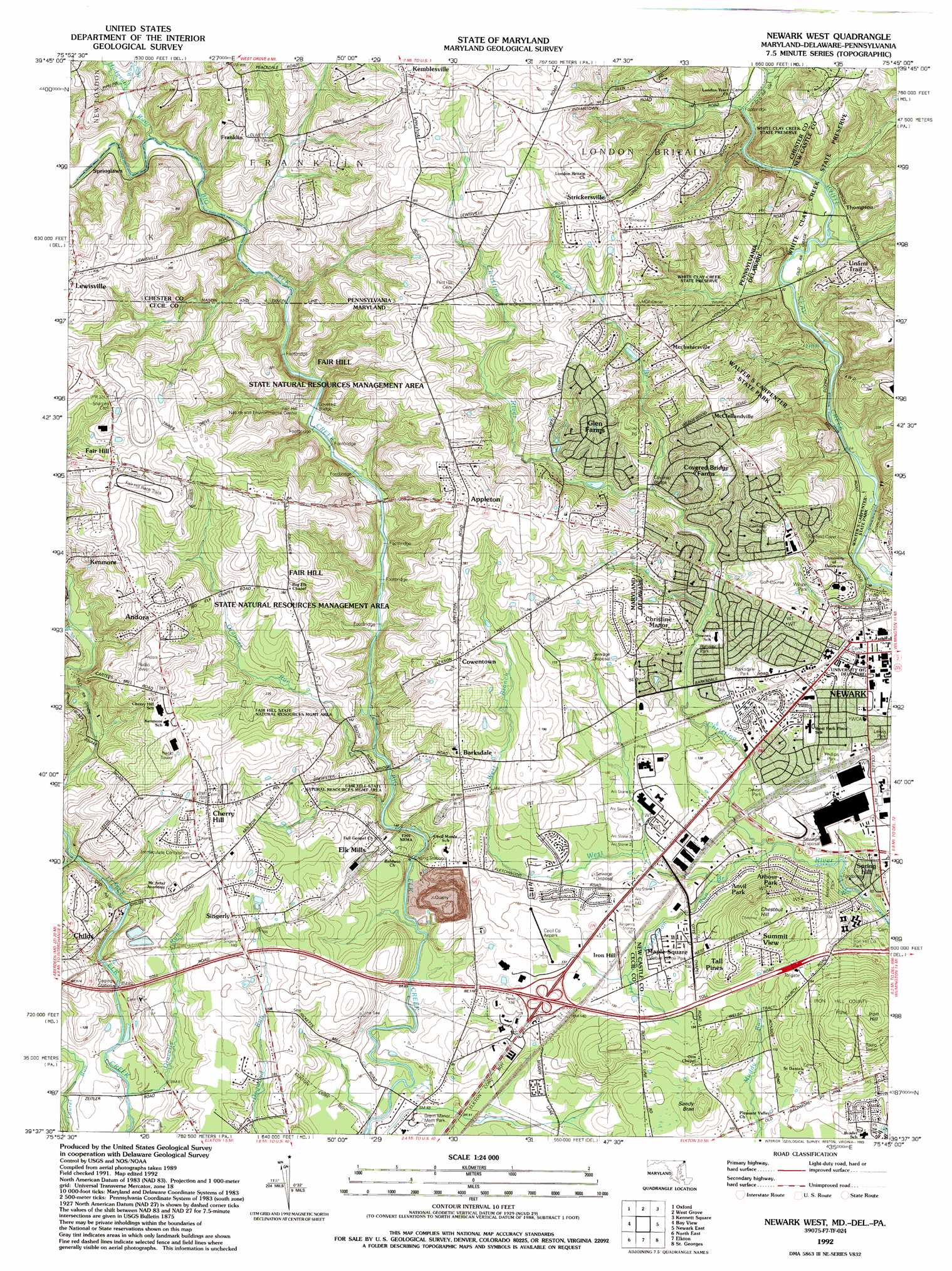 Newark West Topographic Map MD DE PA  USGS Topo Quad