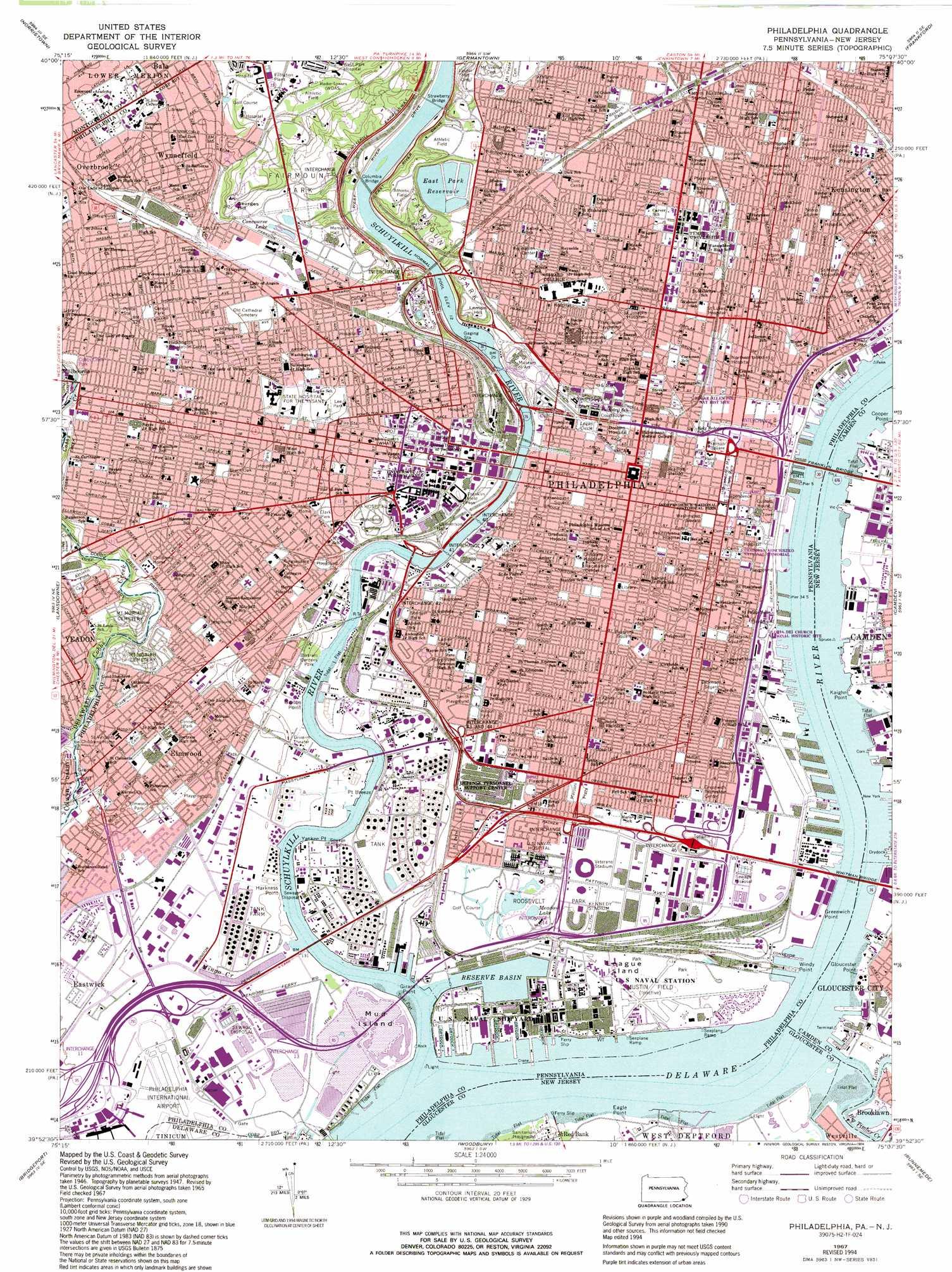Philadelphia Topographic Map PA NJ USGS Topo Quad H - Philadelphia capital of us origanal map