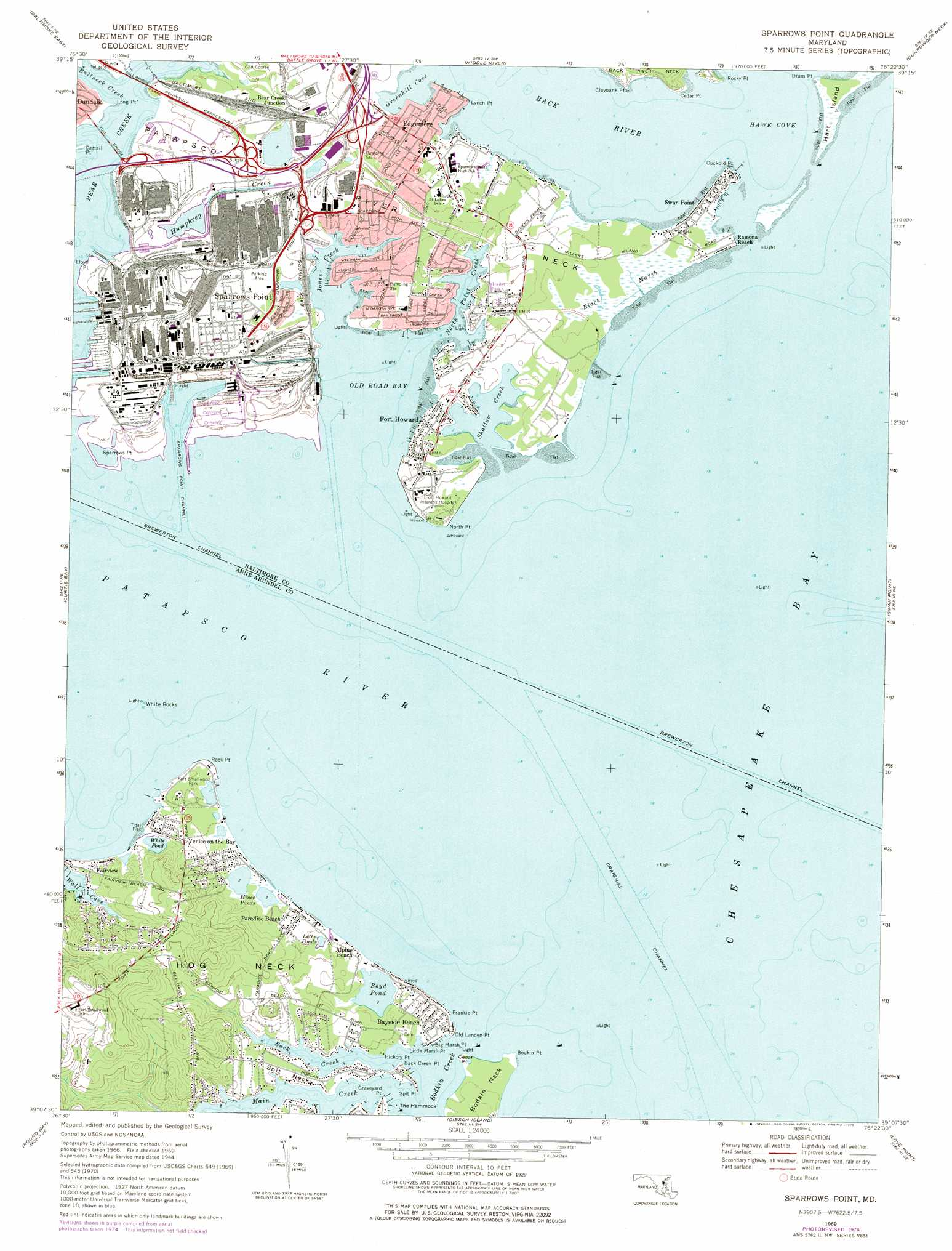 Sparrows Point Topographic Map MD  USGS Topo Quad 39076b4