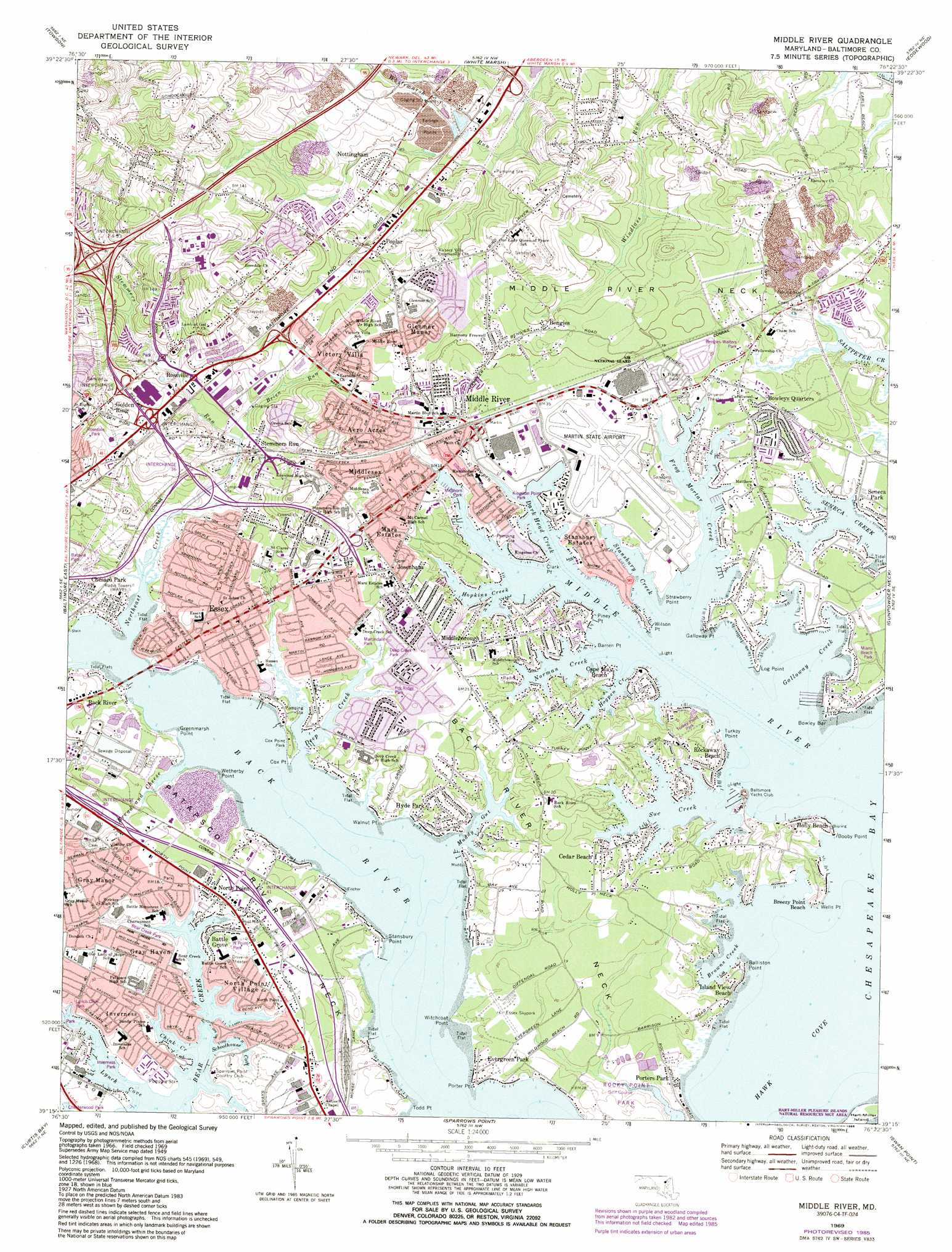 Middle River Topographic Map MD  USGS Topo Quad 39076c4