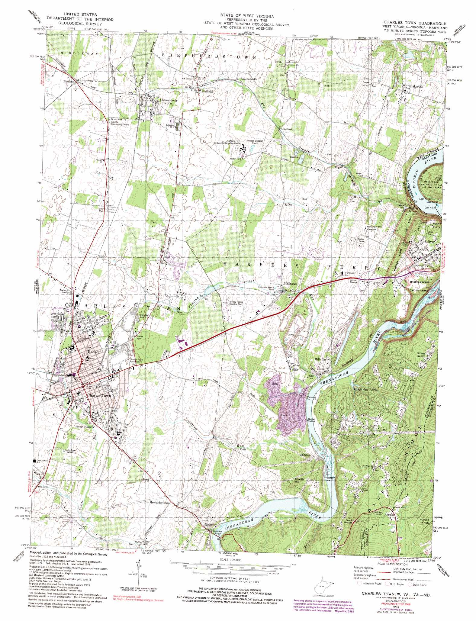 Picture of: Charles Town Topographic Map Wv Va Md Usgs Topo Quad 39077c7